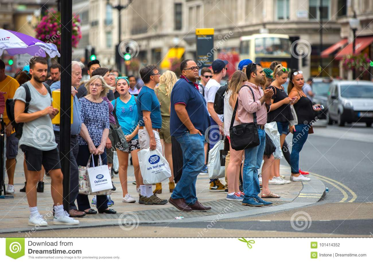 Lots Of People Walking In Oxford Street, The Main