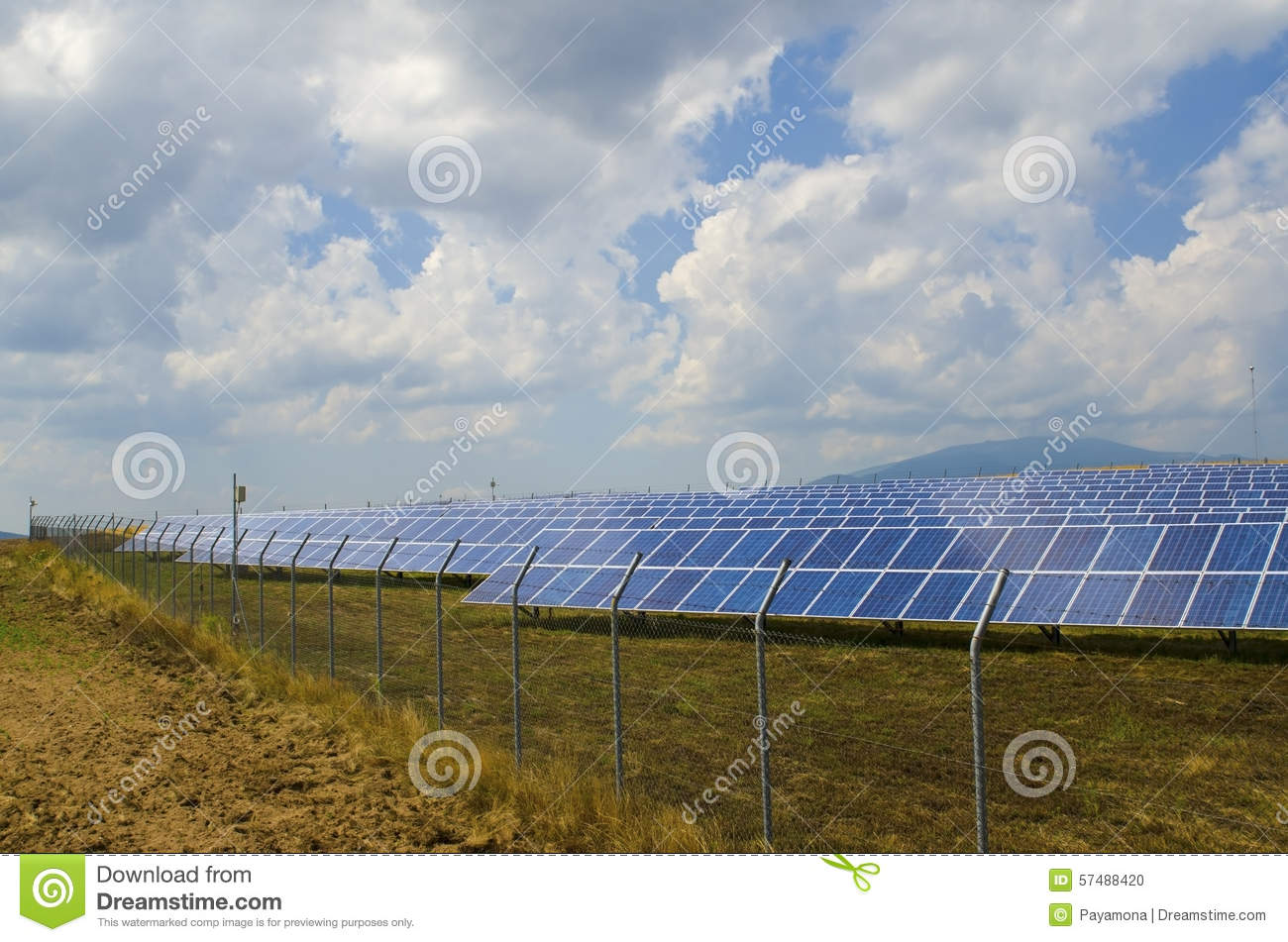 Lots Of Solar Panels Behind Rusty Barbed Wire Stock Photo - Image of ...