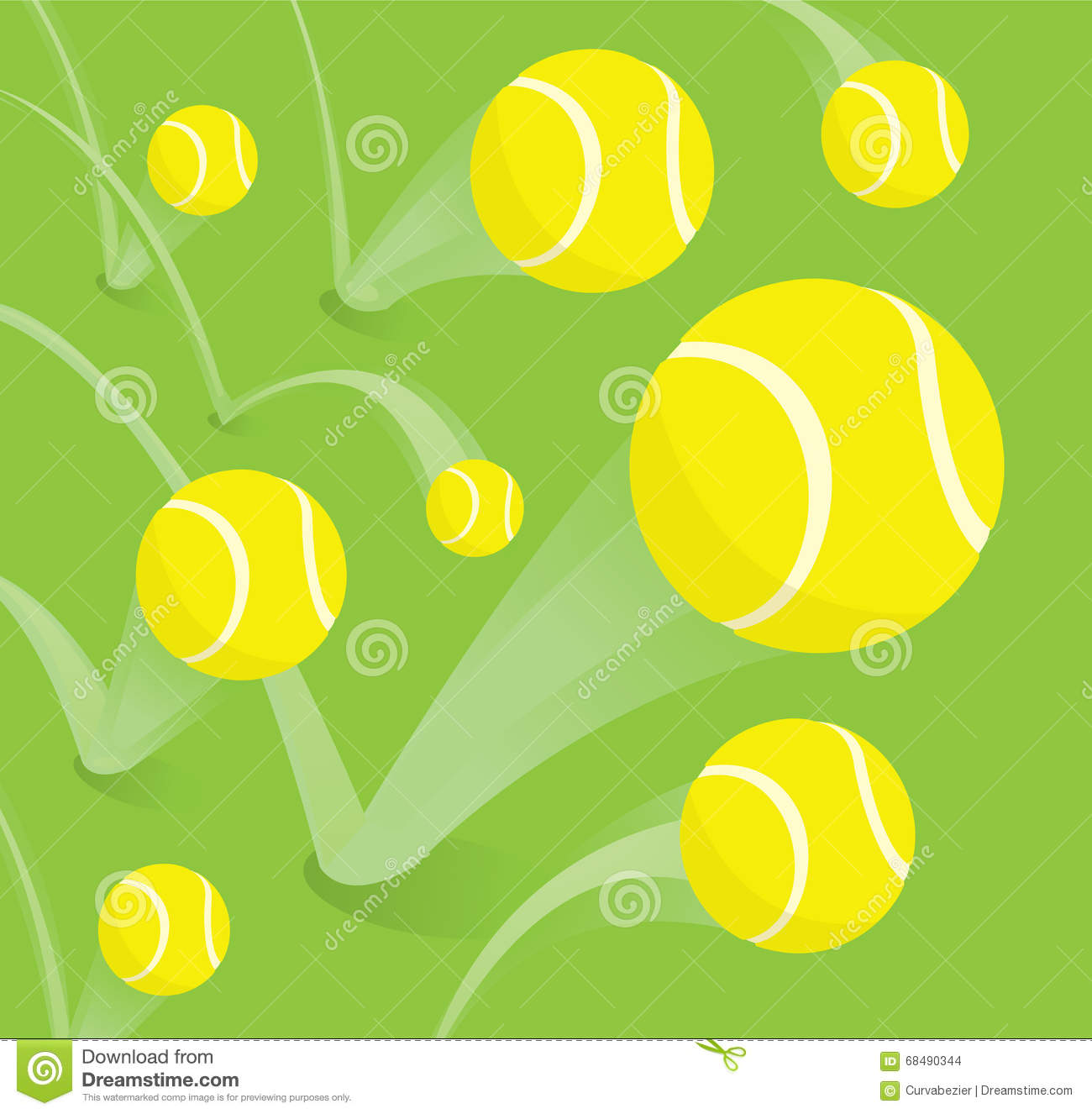 Lots Of Tennis Balls Bouncing Stock Vector Illustration Of