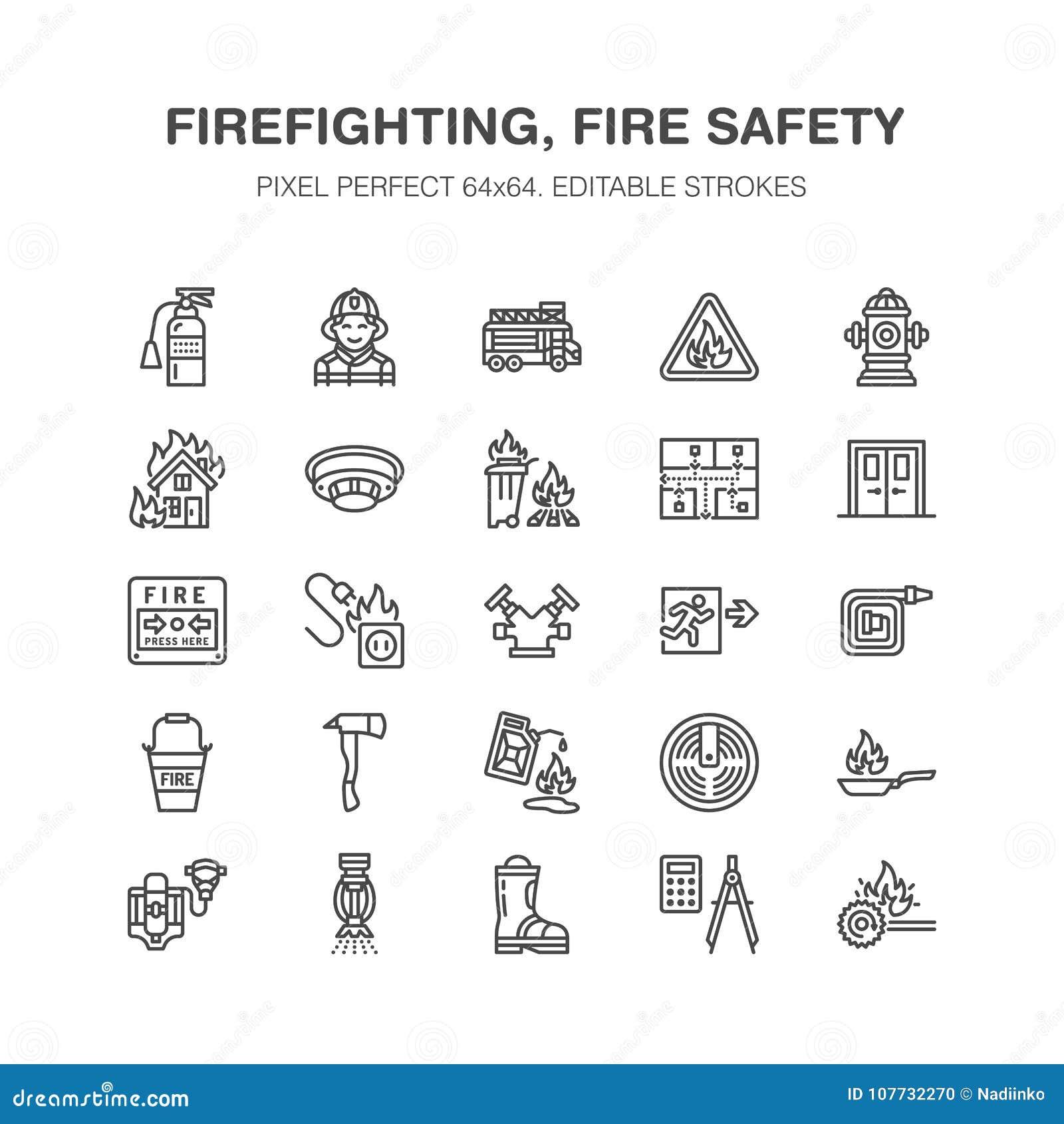 Lotta contro l incendio, linea piana icone dell attrezzatura di protezione antincendio L automobile del pompiere, l estintore, il