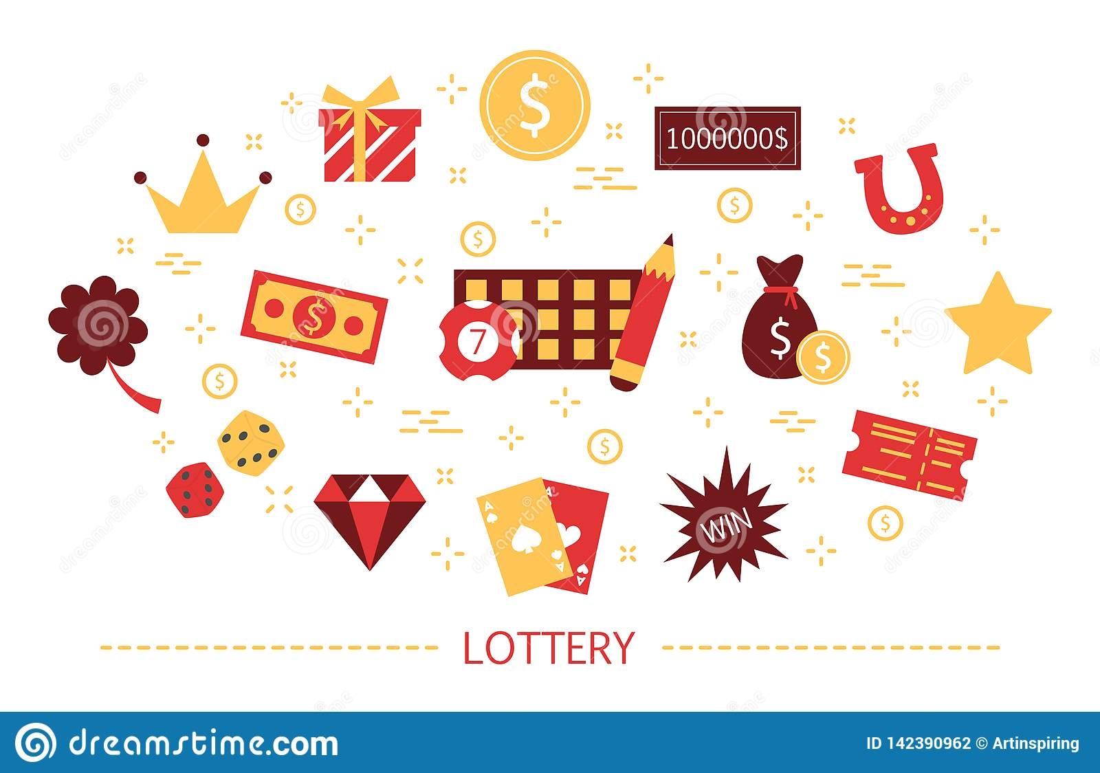 Lottery concept. Gamble and bingo. Play game