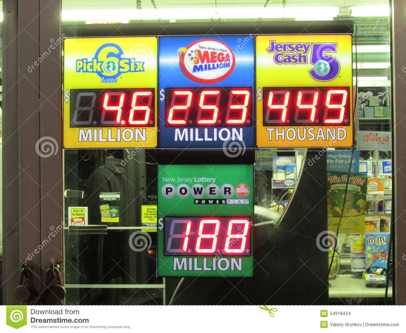 Lottery Sign In NJ With Jackpots Shown   Powerball $188,000,000