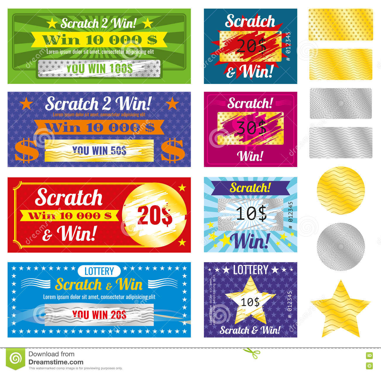 Lottery Tickets Of Scratch And Win With Effect From Marks. Vector ...