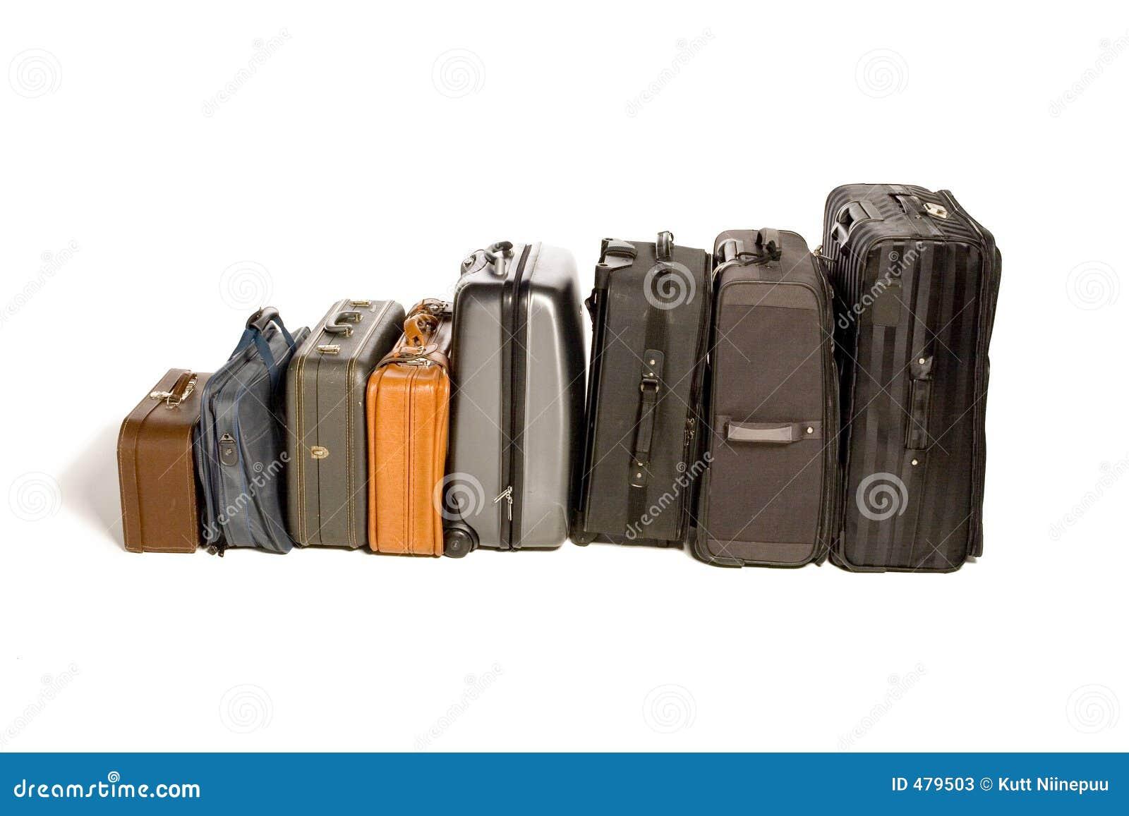Lotti delle valigie di viaggio