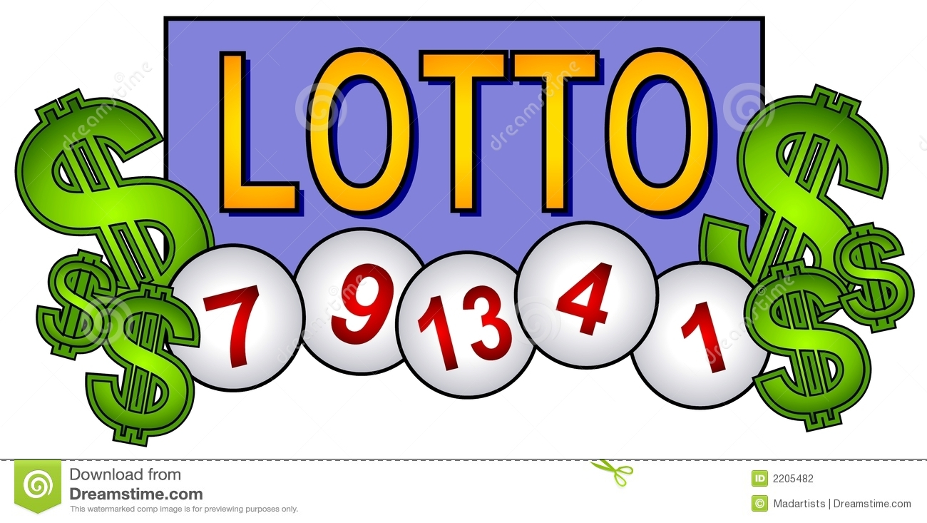 lottery themed illustration featuring a lotto sign with 5 lotto ...