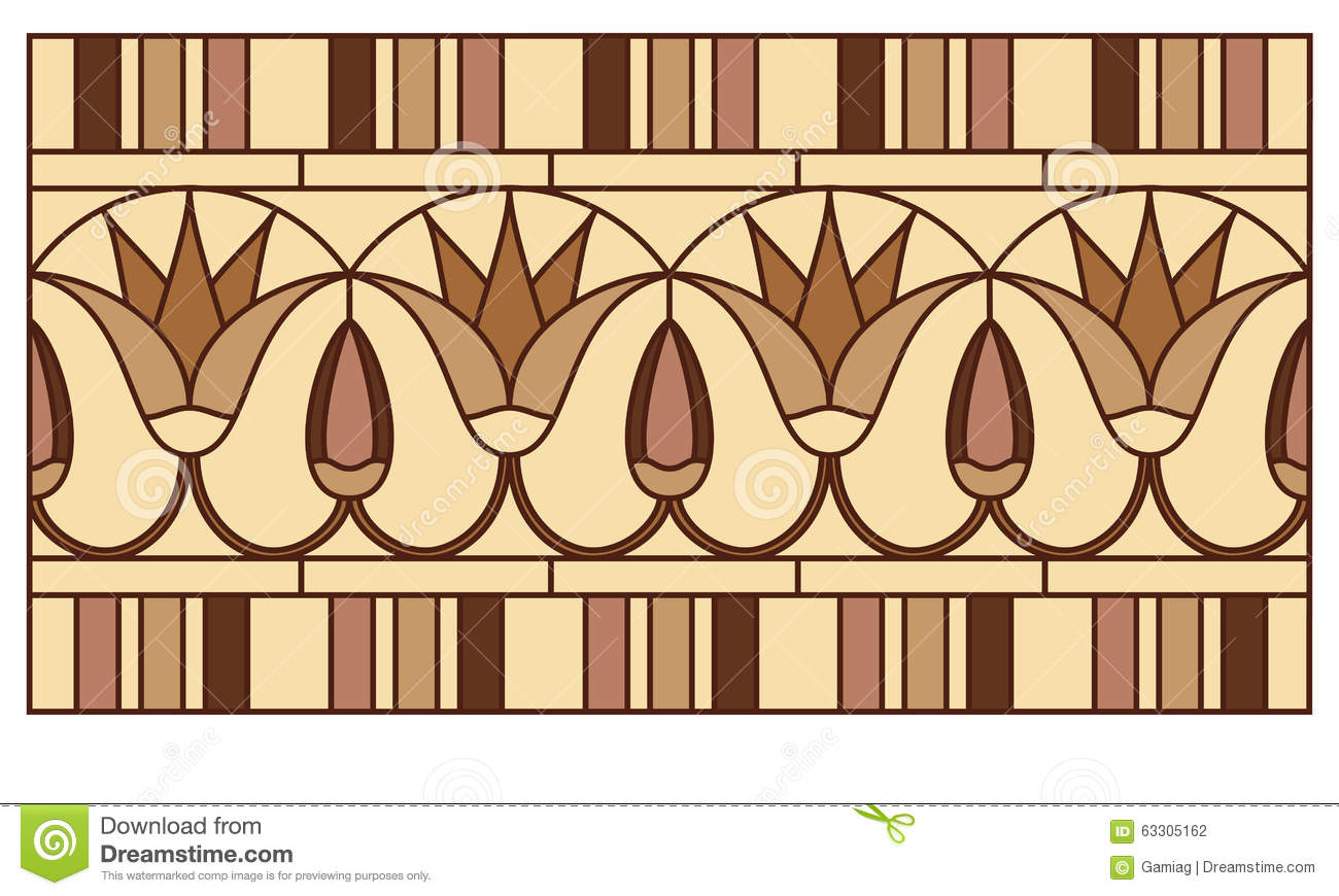 Lotus In The Ancient Egyptian Ornament Stock Illustration