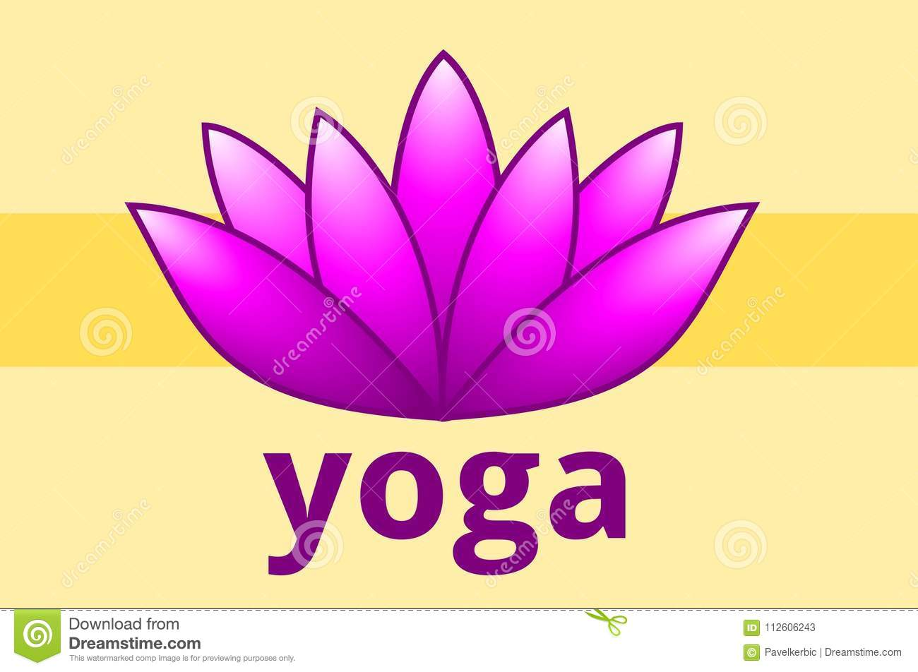 Lotus Blossom With The Word Yoga Stock Vector Illustration Of