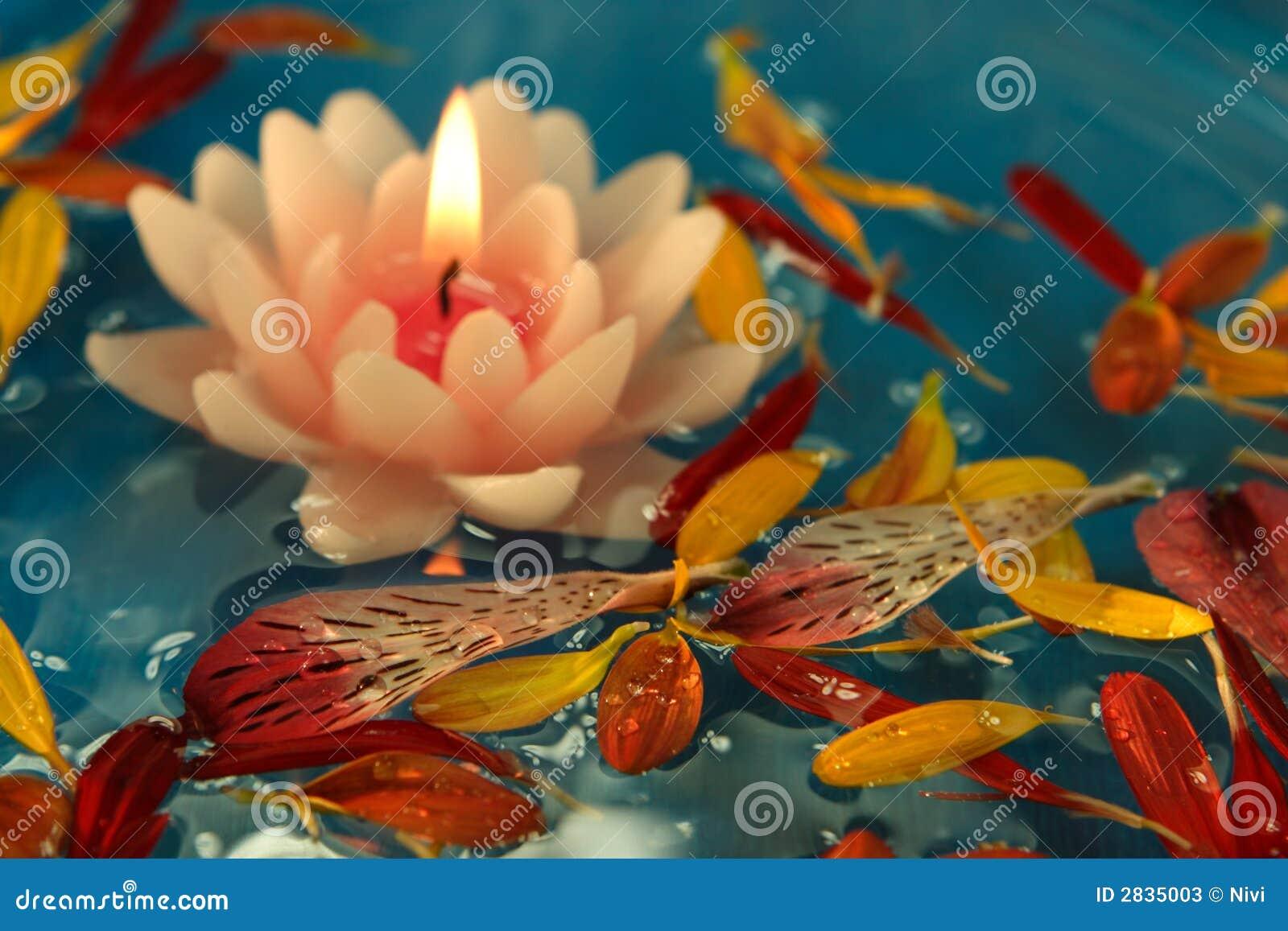 Floating Lotus Candle Stock Image Image Of Burning Liquid 2835003