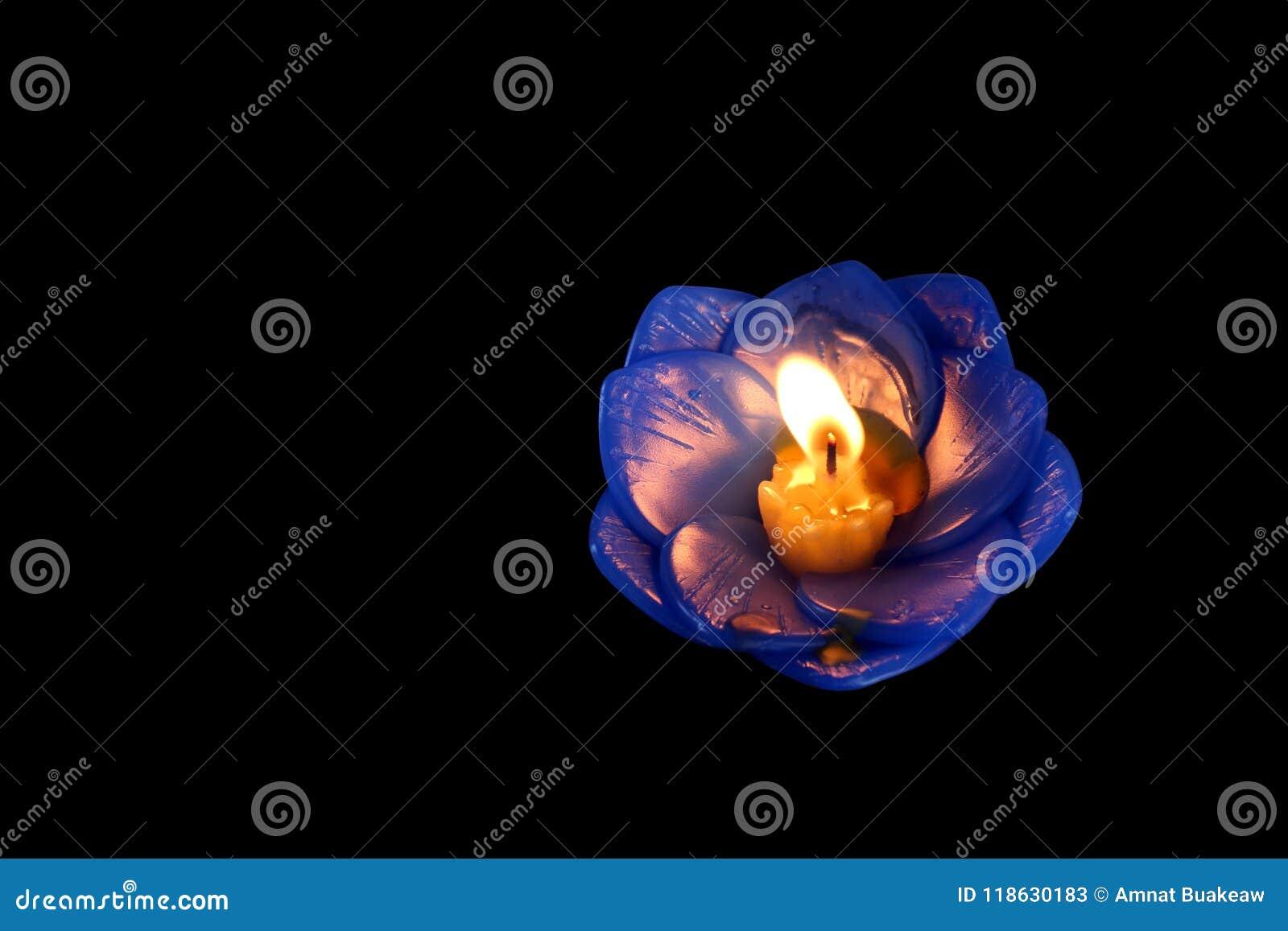 Lotus Candle Isolated On Black Background Lamp Lantern Light