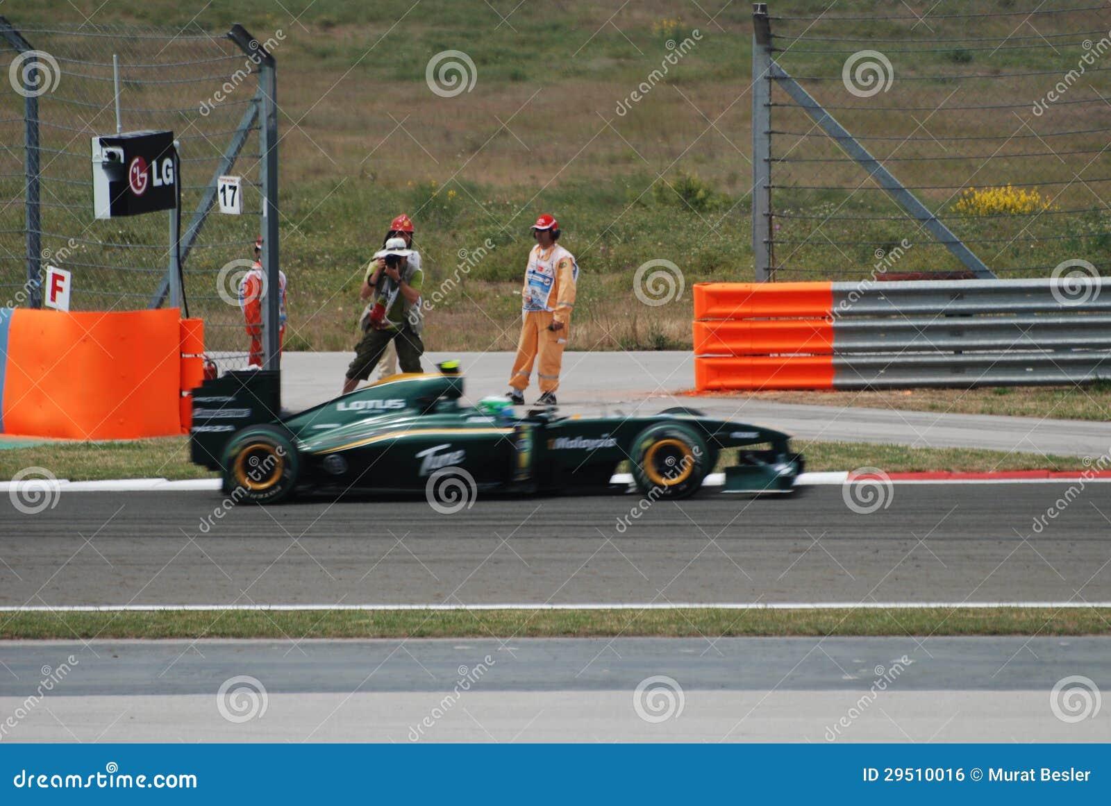 Lotus die de auto van het Team rennen