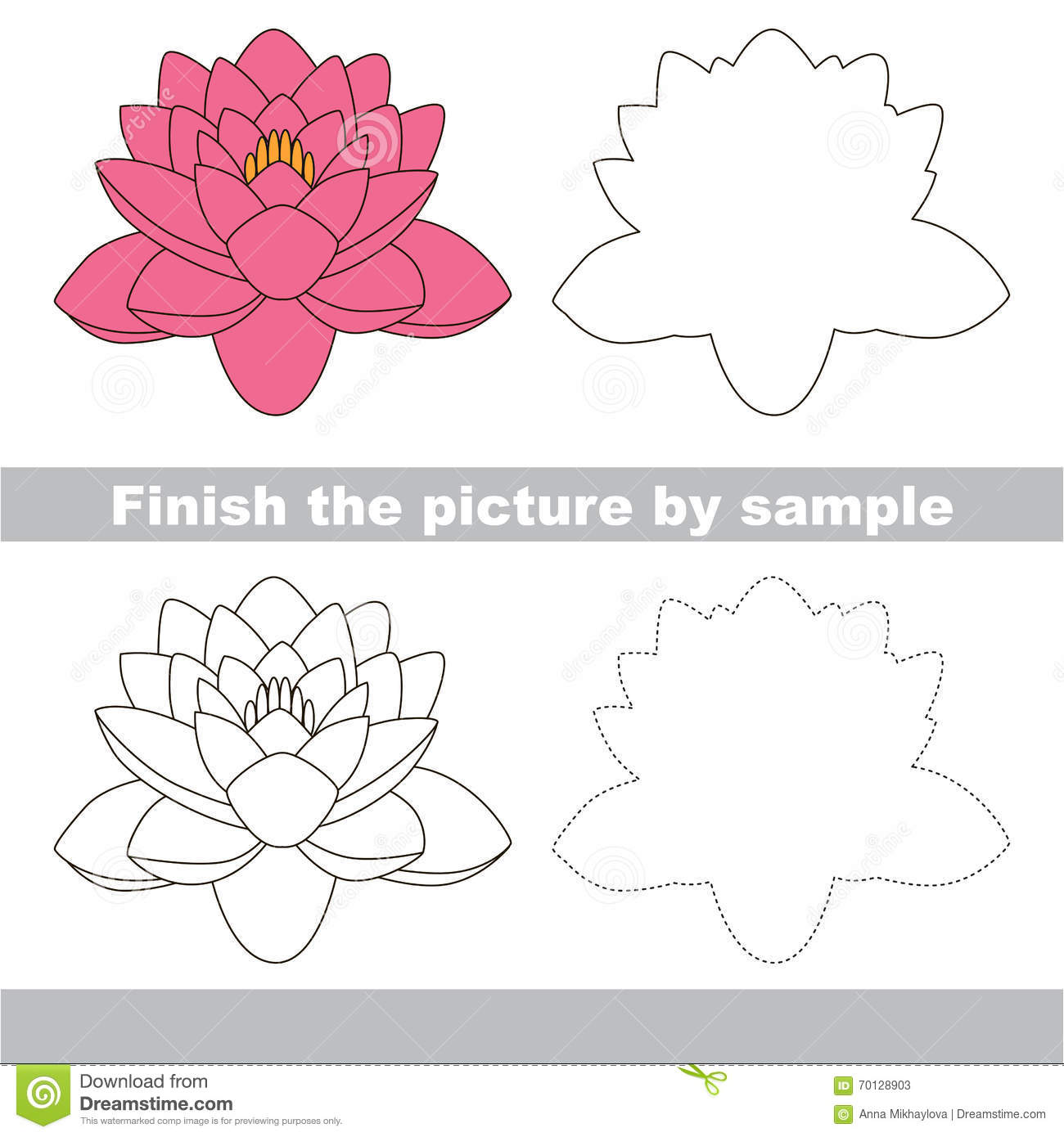 lotus drawing worksheet cartoon vector 75234753. Black Bedroom Furniture Sets. Home Design Ideas