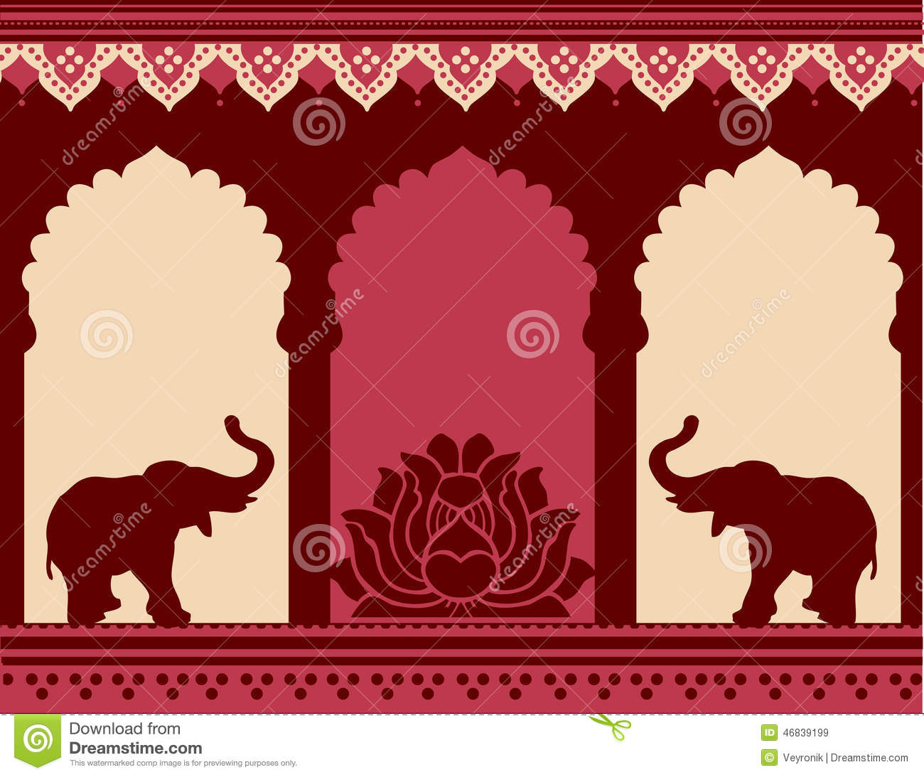 Lotus Flower Design Wall Paper : Lotus and elephant temple background stock vector image