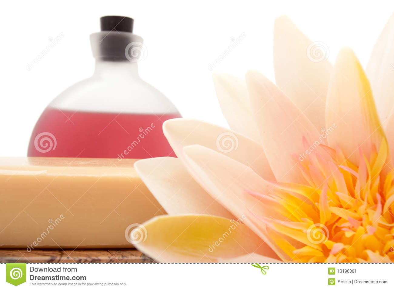 Lotus Essential Oils And Bath Soap Stock Image Image Of