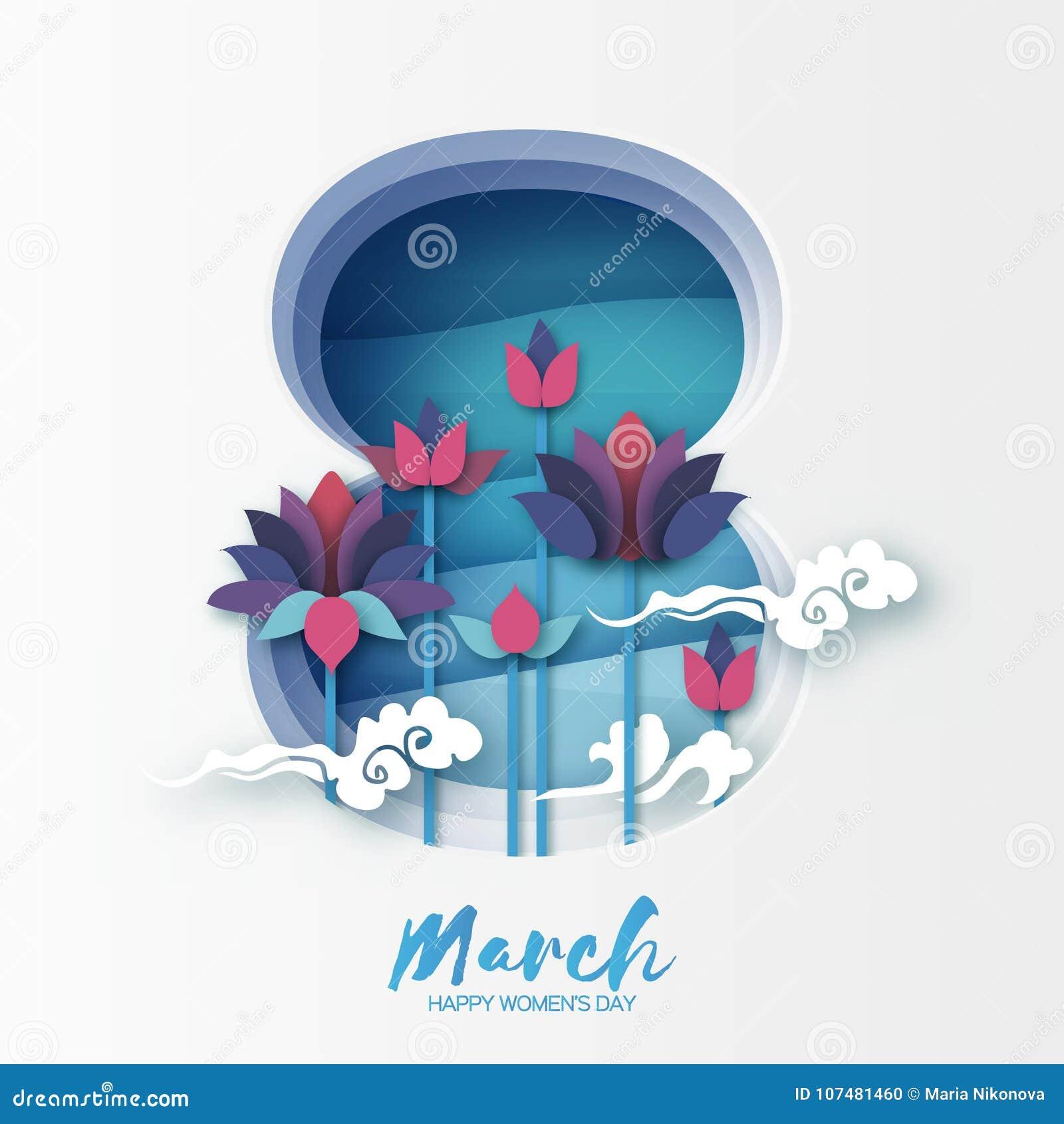 Lotus Floral Greeting-Karte in der Papierschnittart 8. März überlagerter Rahmen Glücklicher Frauen ` s Mutter ` s Tag Origami-See