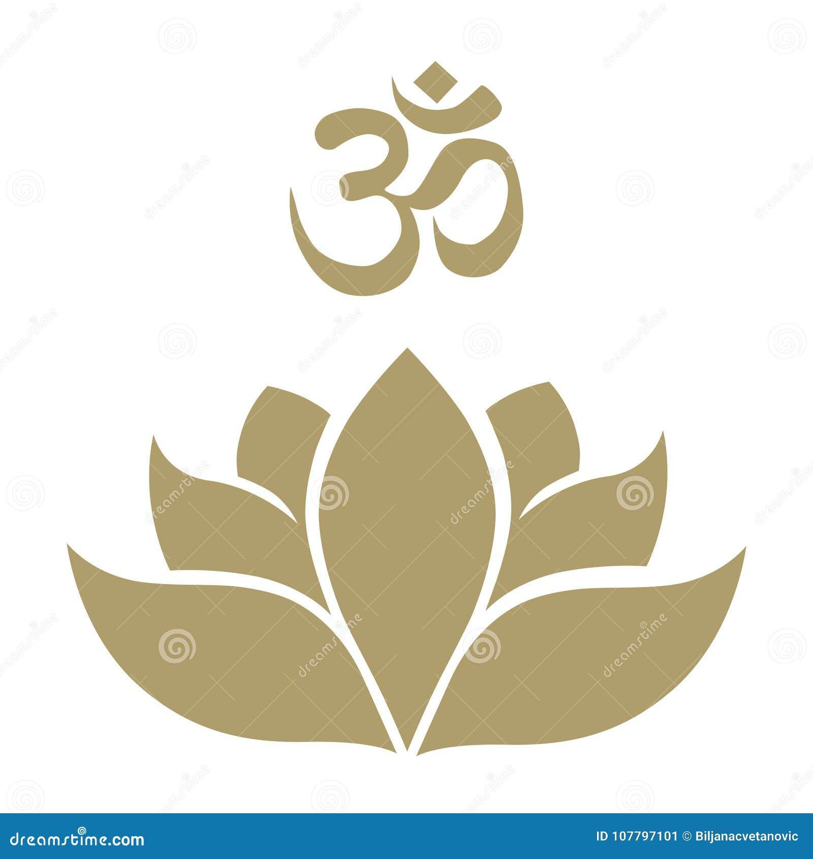 Lotus Flower And Aum Symbol Stock Vector Illustration Of Girl