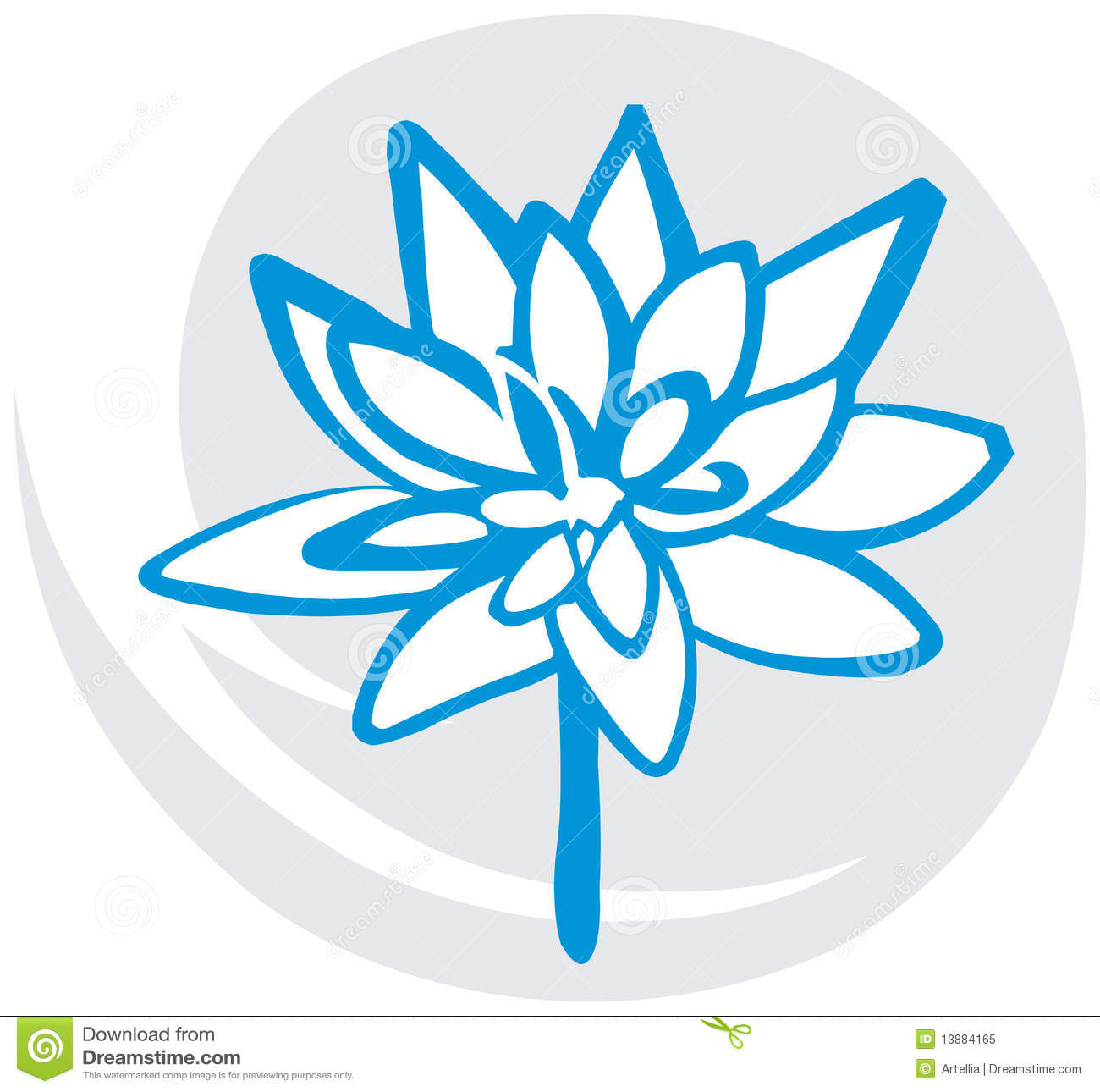 Lotus Flower In Blue Stock Vector Illustration Of Concept 13884165