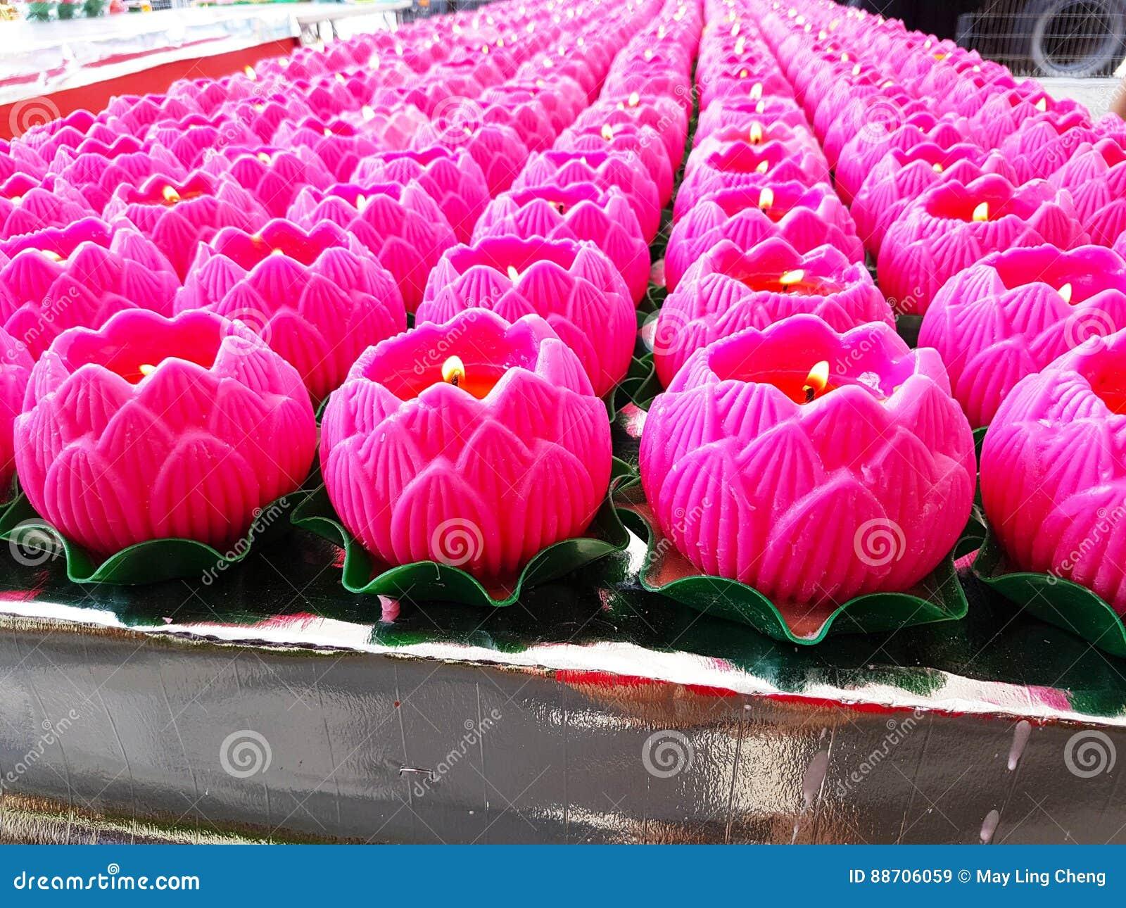 Lotus Flower Candles For Praying Stock Image - Image of