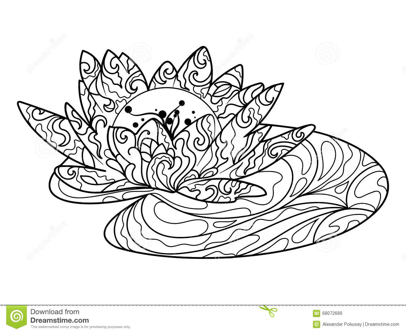lotus-flower-coloring-book-adults-vector-water-lily-illustration-anti-stress-adult-zentangle-style-black-68072689