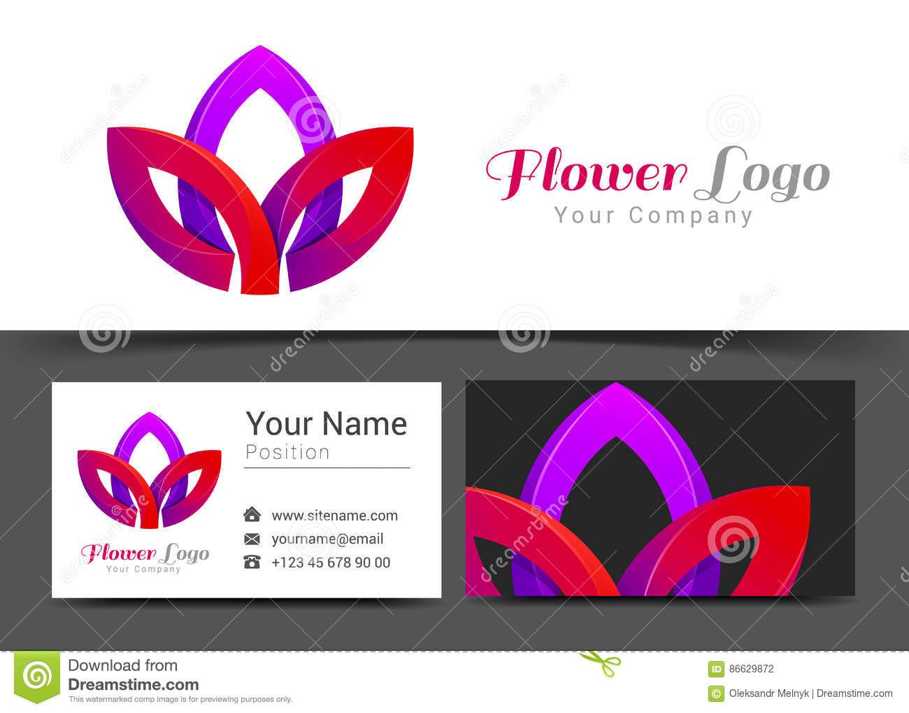 Lotus Flower Corporate Logo Et Calibre De Signe Carte Visite Professionnelle
