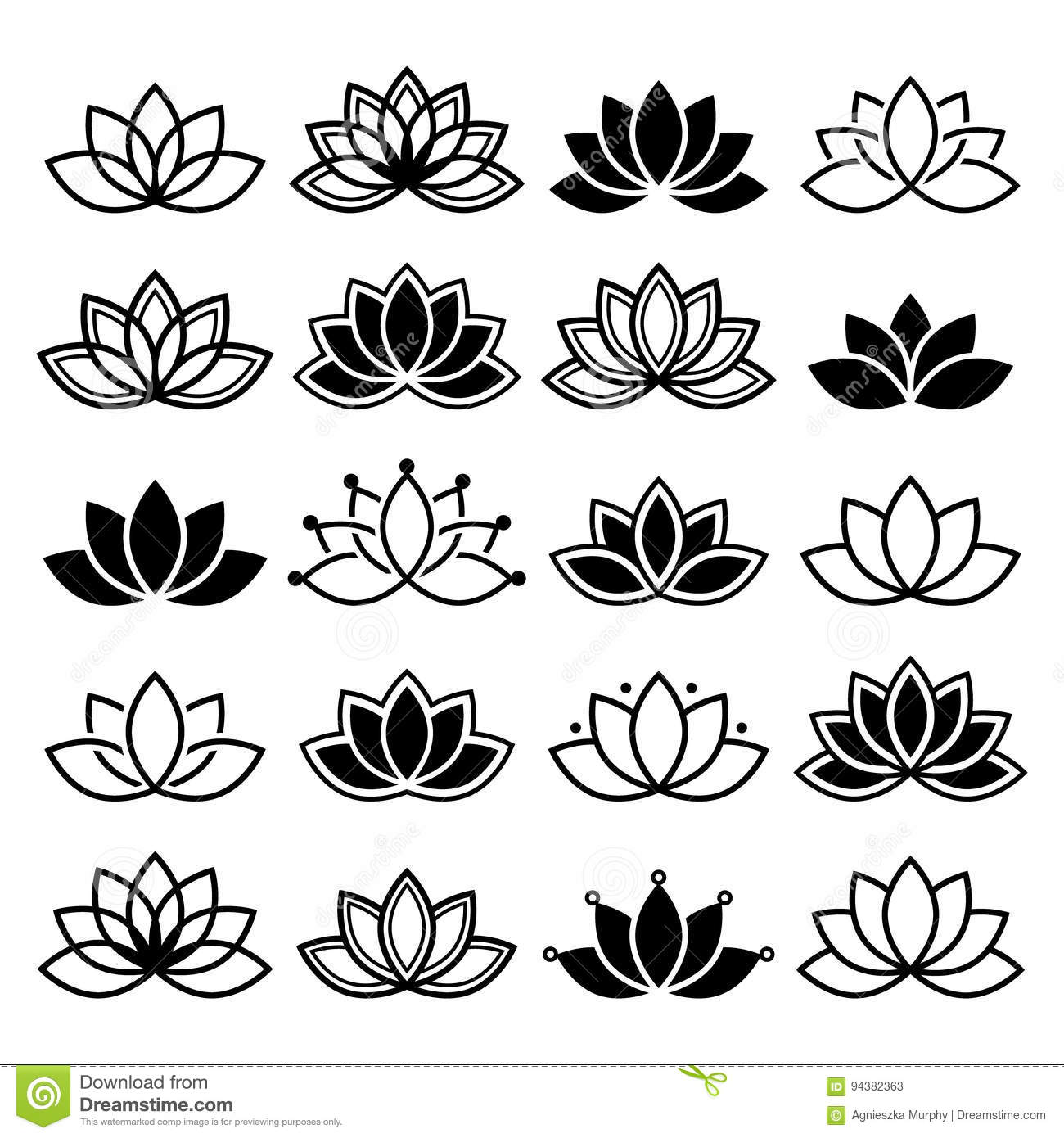 Lotus Flower Design Set Yoga Abstract Collection Stock