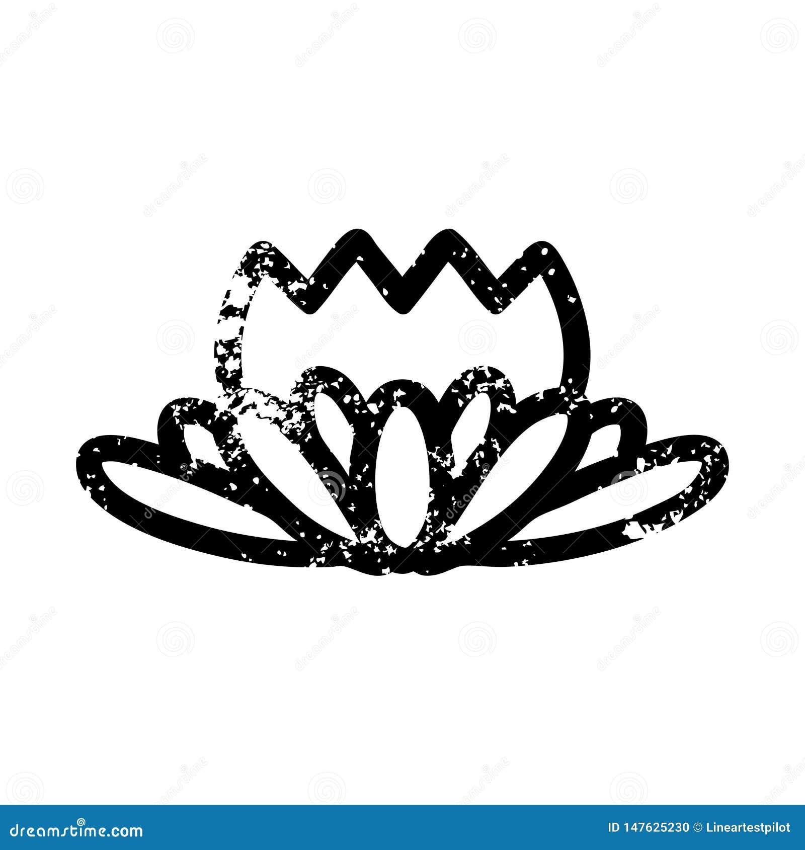 lotus flower distressed icon