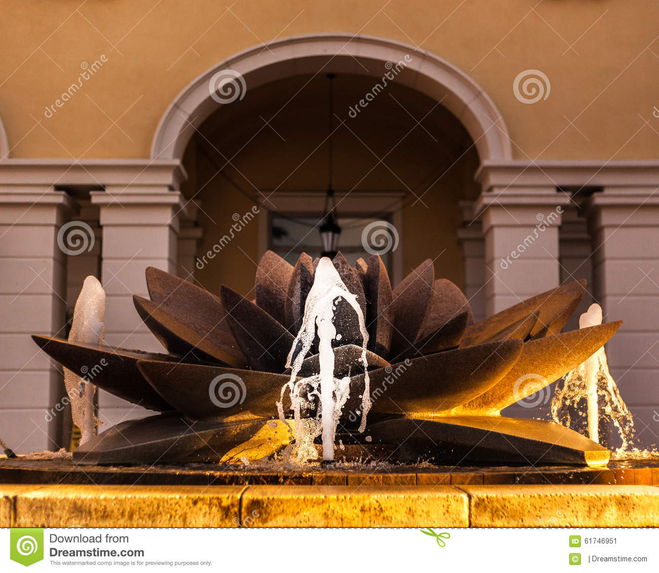 Lotus flower fountain stock photo image 61746951 background building flower fountain lotus motion sun tint water dhlflorist Images