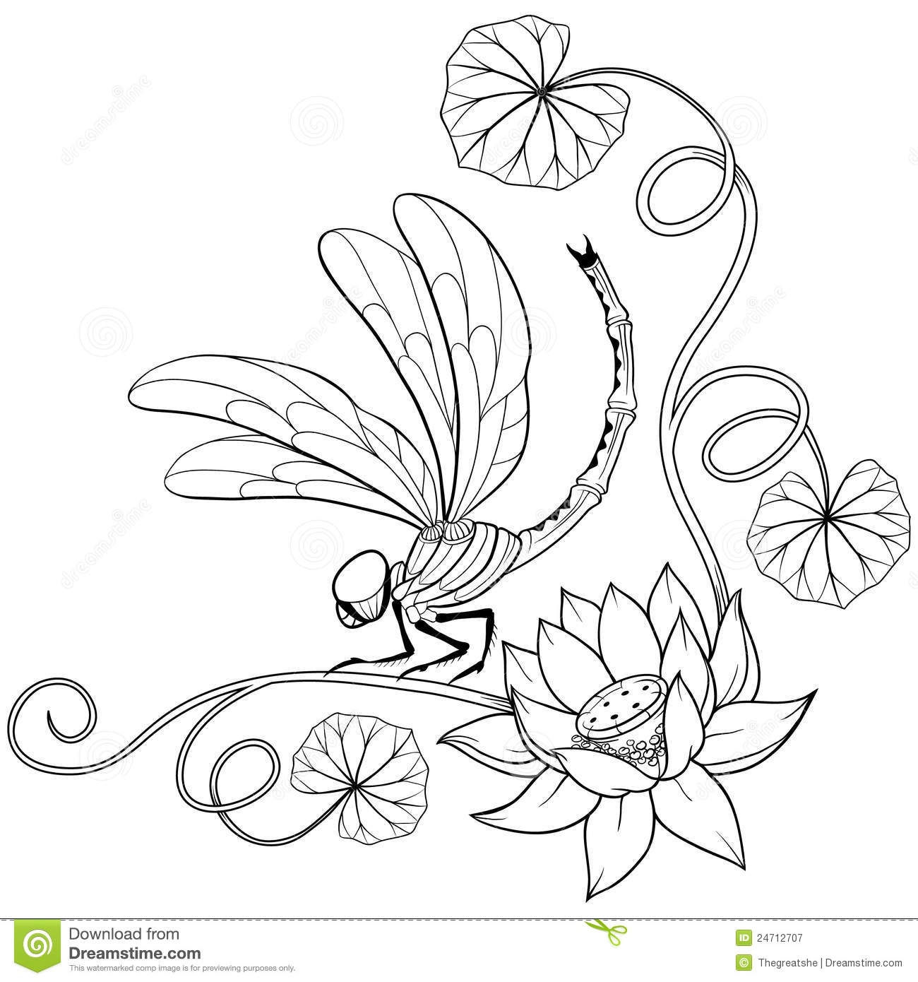 Lotus Flower Frame Corner With Dragonfly Stock Vector Illustration