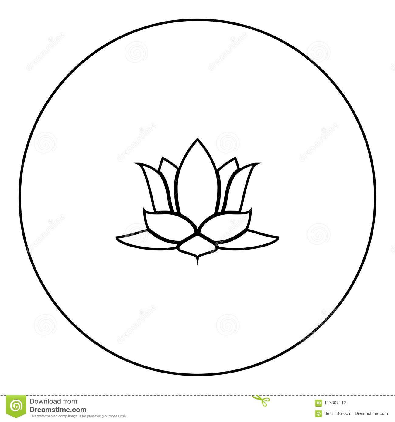 Lotus Flower Icon Black Color In Circle Stock Vector Illustration
