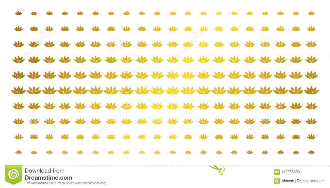 Lotus Flower Gold Halftone Grid Stock Vector Illustration Of Icons