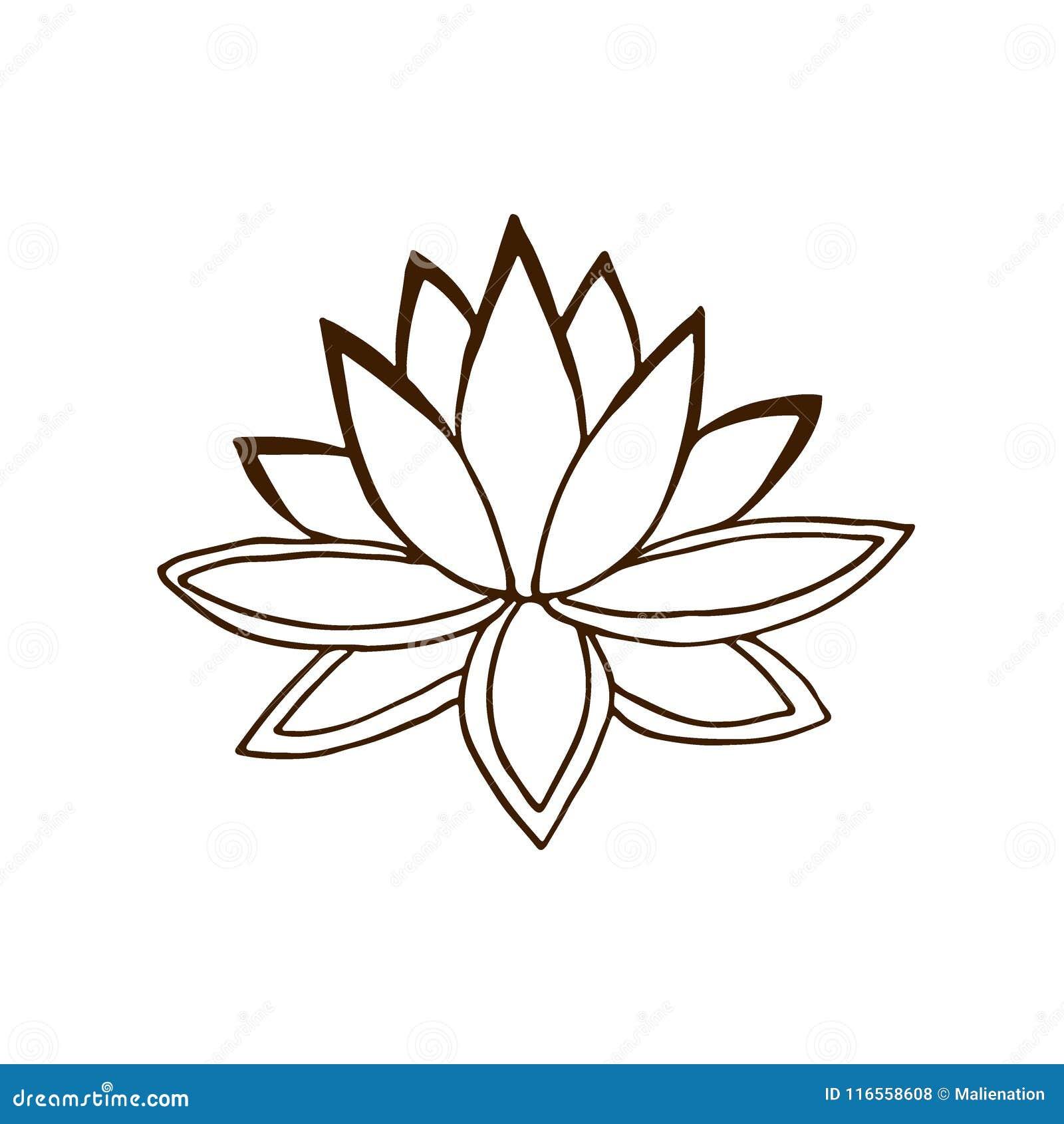 Lotus Flower Hand Dran Logo Summer Vector Illustration Stock
