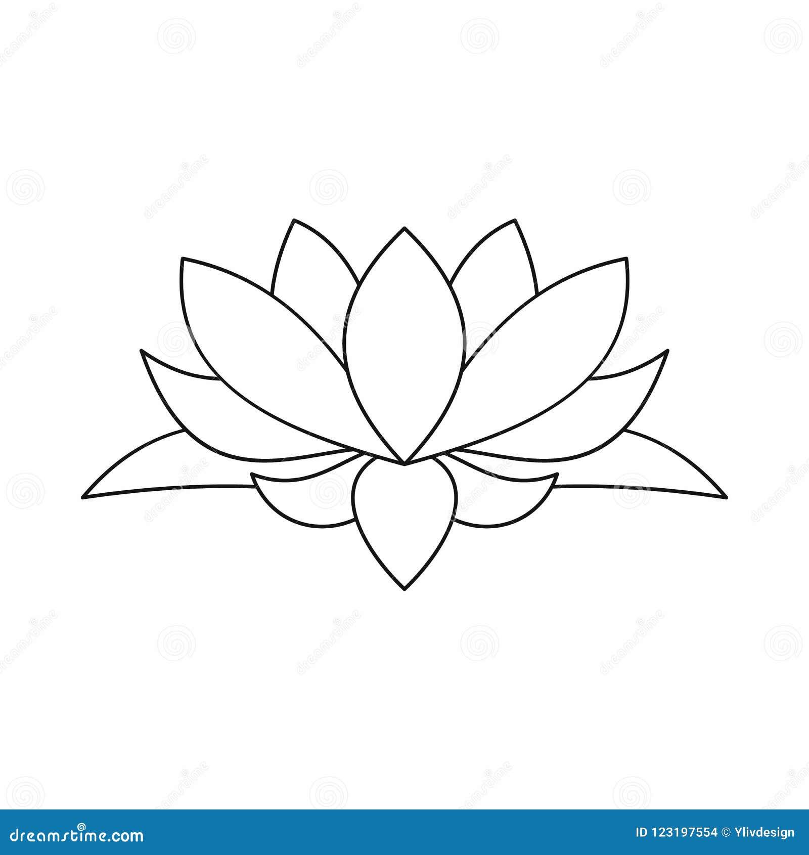 Lotus Flower Icon Outline Style Stock Illustration Illustration