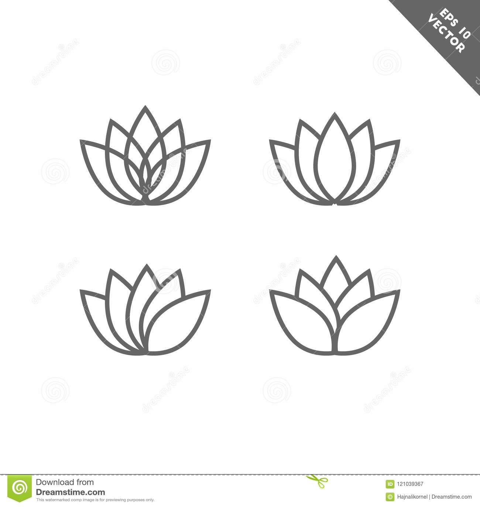 Lotus Flower Icon Set In Line Art Stock Vector Illustration Of