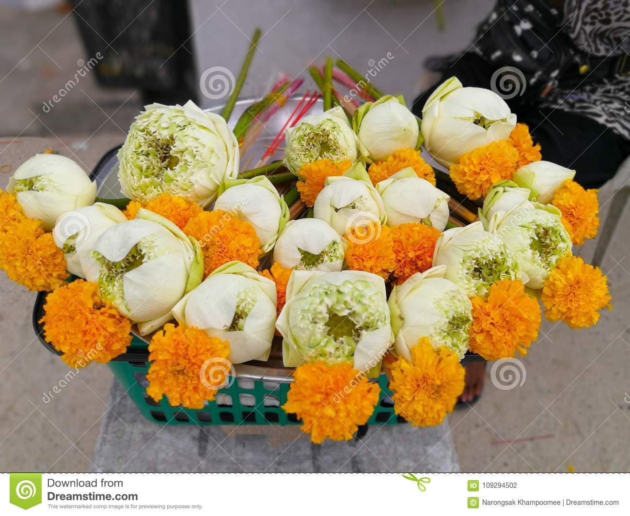 Lotus Flower And Incense Candles For Worship The Buddha Stock Photo