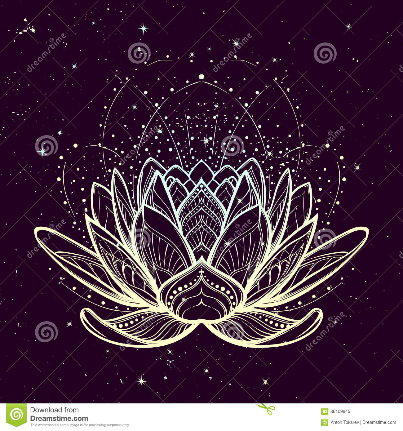 Lotus Flower Intricate Stylized Linear Drawing On Starry Nignt Sky