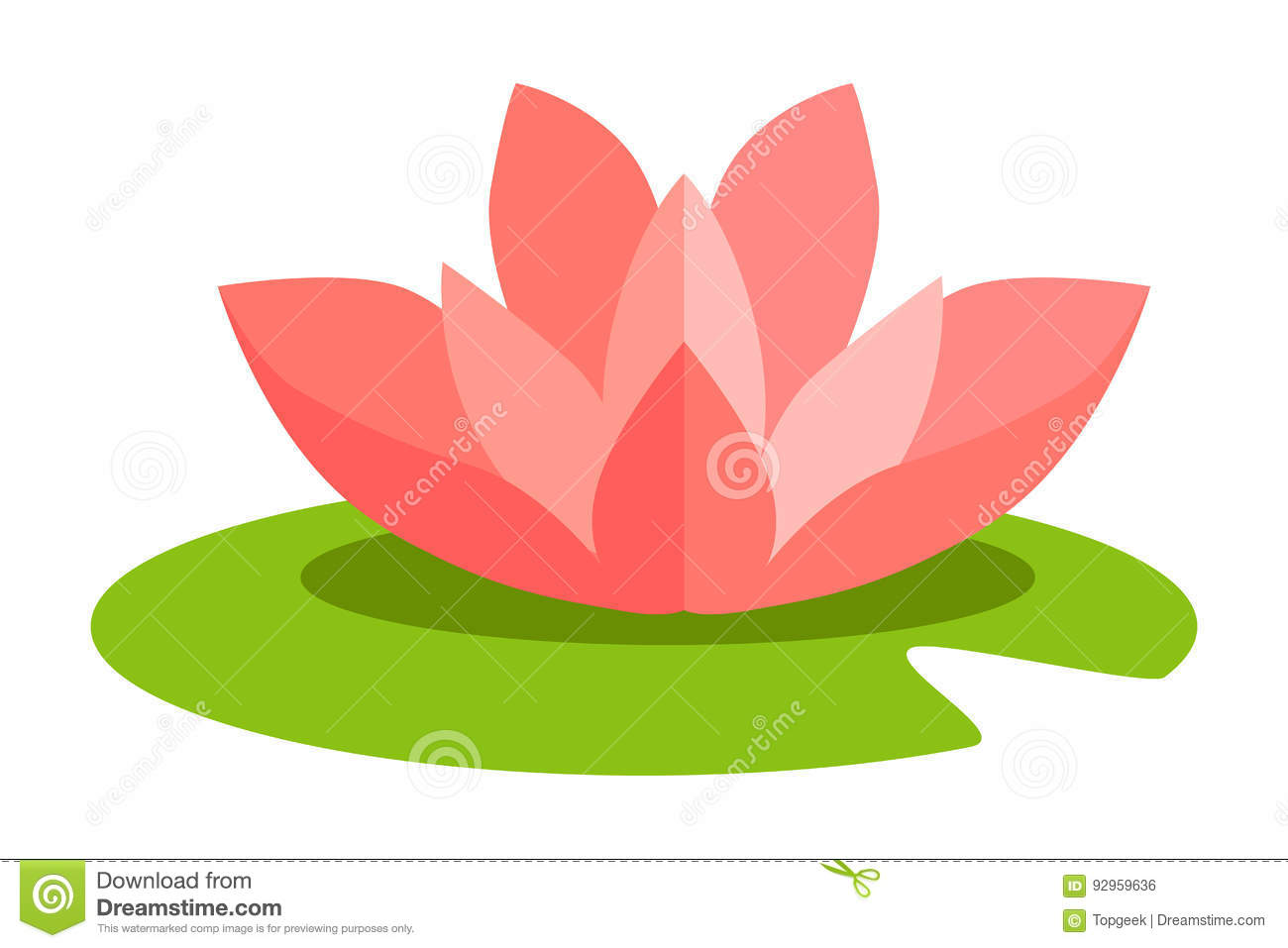 Lotus Flower Isolated In Flat Design On White Stock Vector