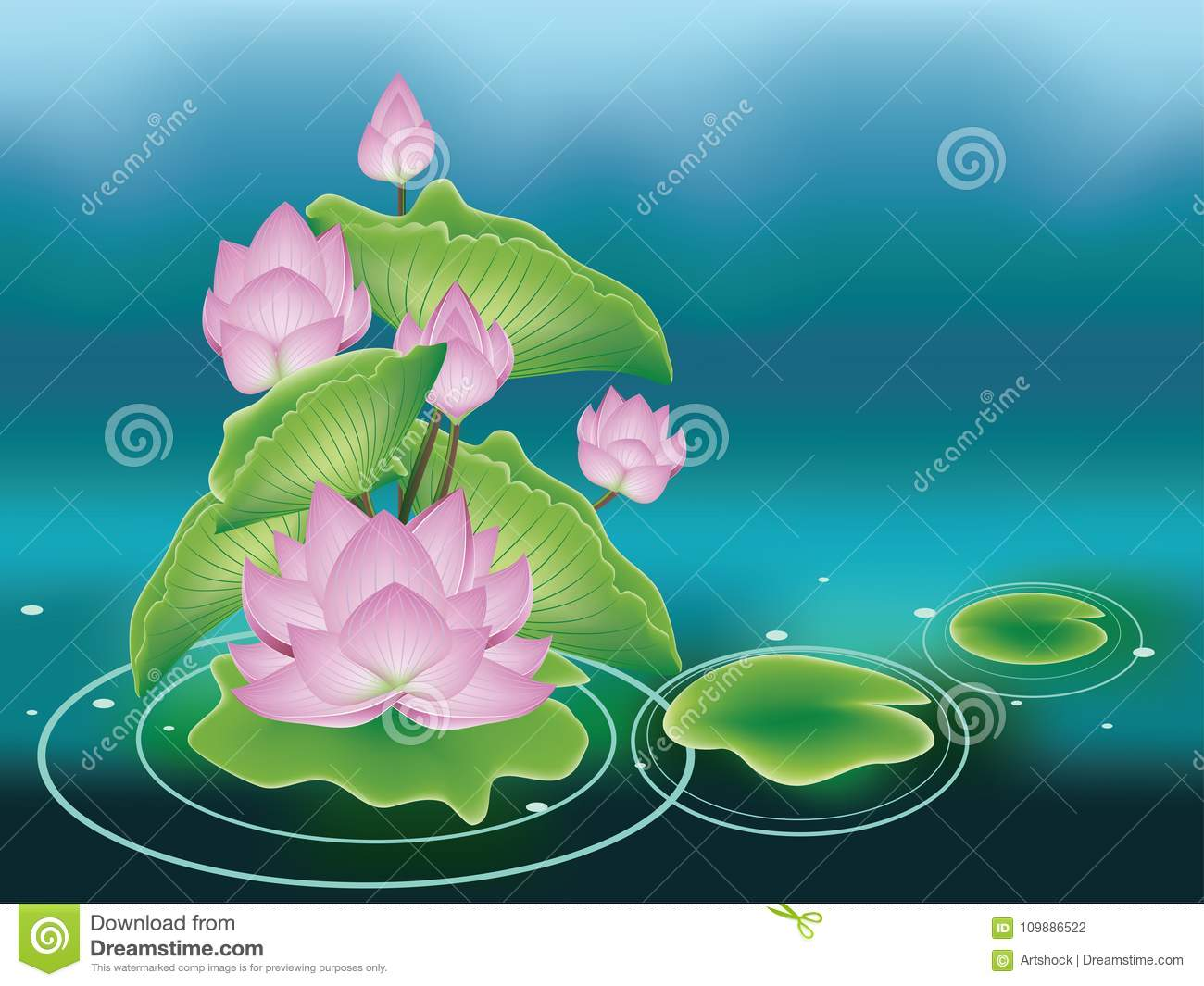 Lotus Flower With Leaves Stock Vector Illustration Of Oriental