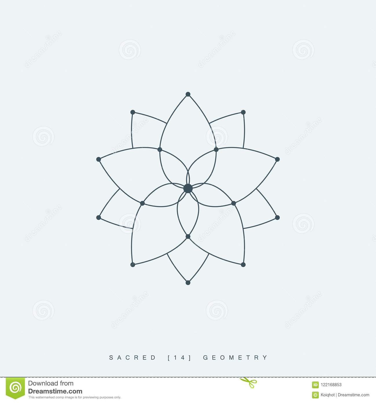Lotus Flower Or Flower Of Life Esoteric Symbol Stock Vector