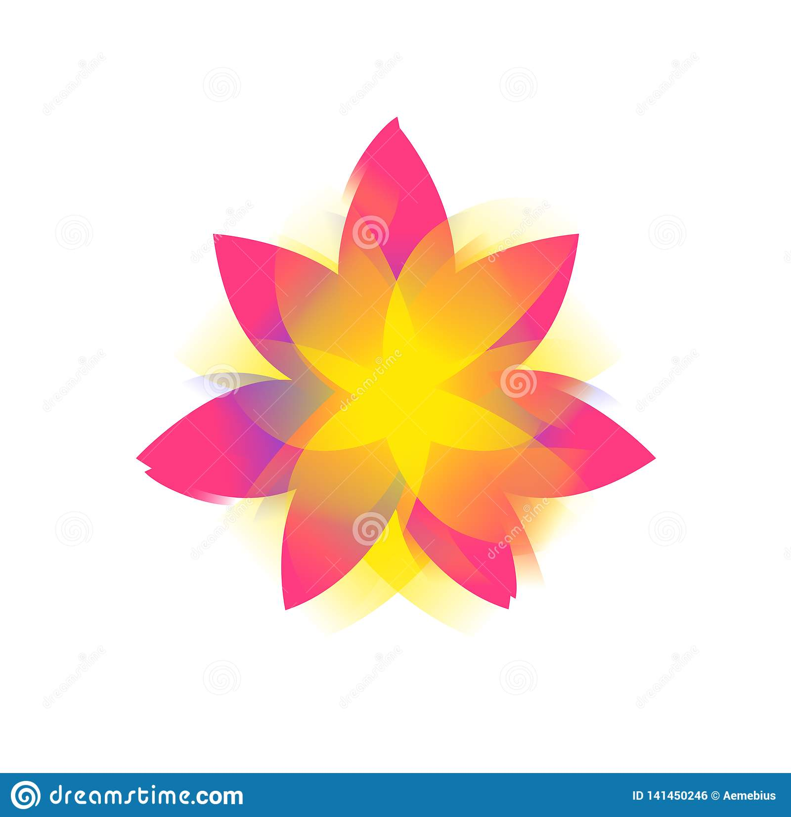 Lotus flower, logo, sign. Vector flat flower icon. Minimalistic image on an isolated background. Lotus for yoga studio, spa. The