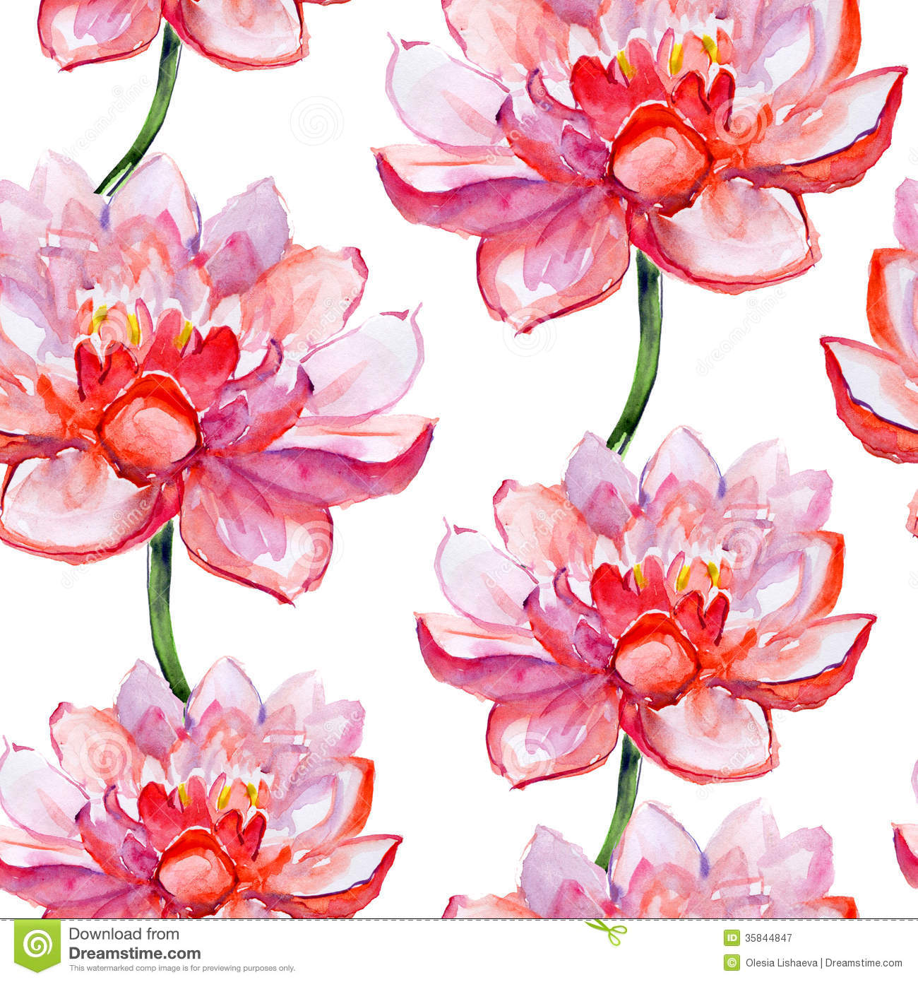 Lotus Flower Pattern Watercolor Stock Illustration Illustration