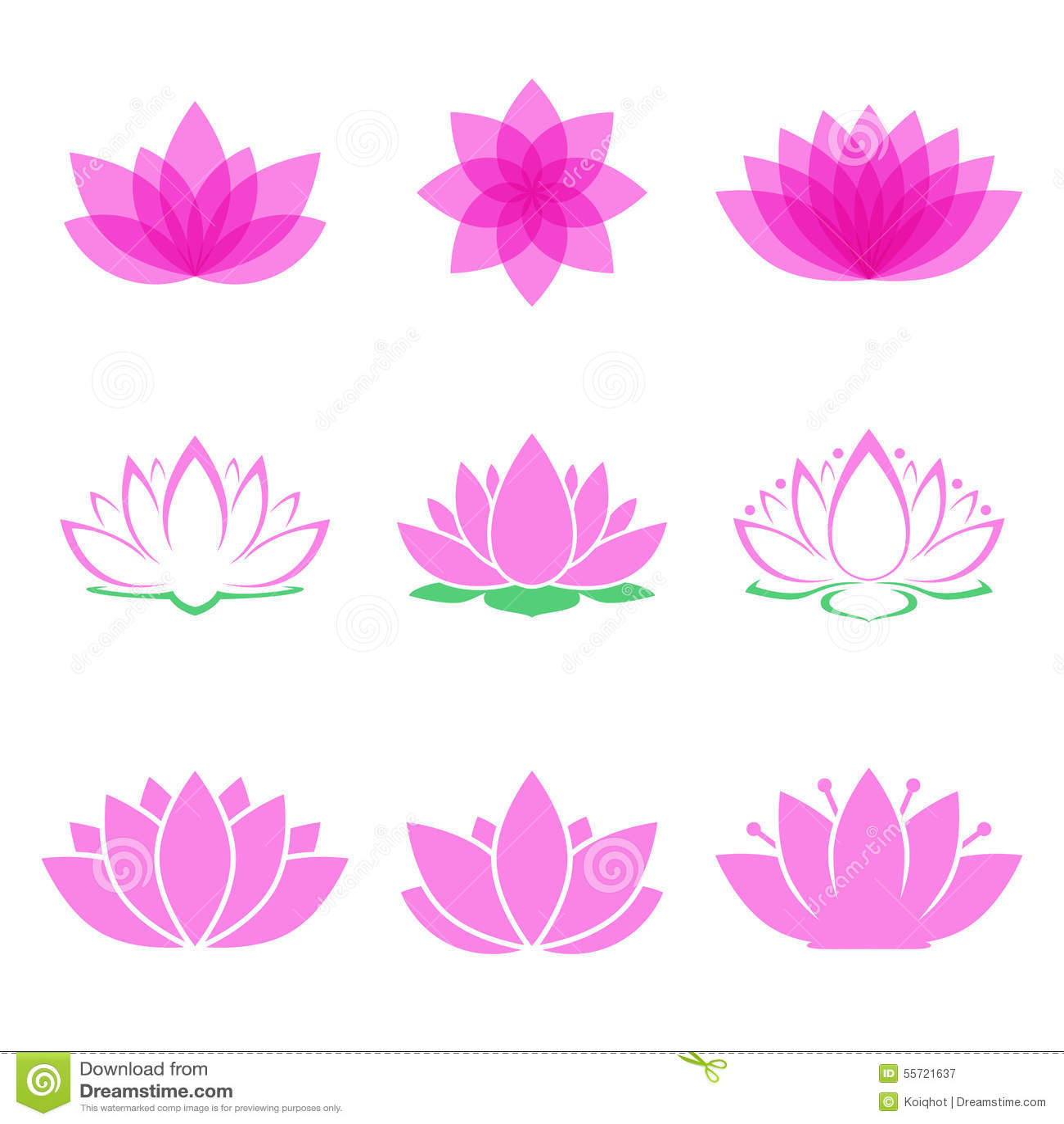 Lotus Flower Set Stock Vector Illustration Of Massage 55721637
