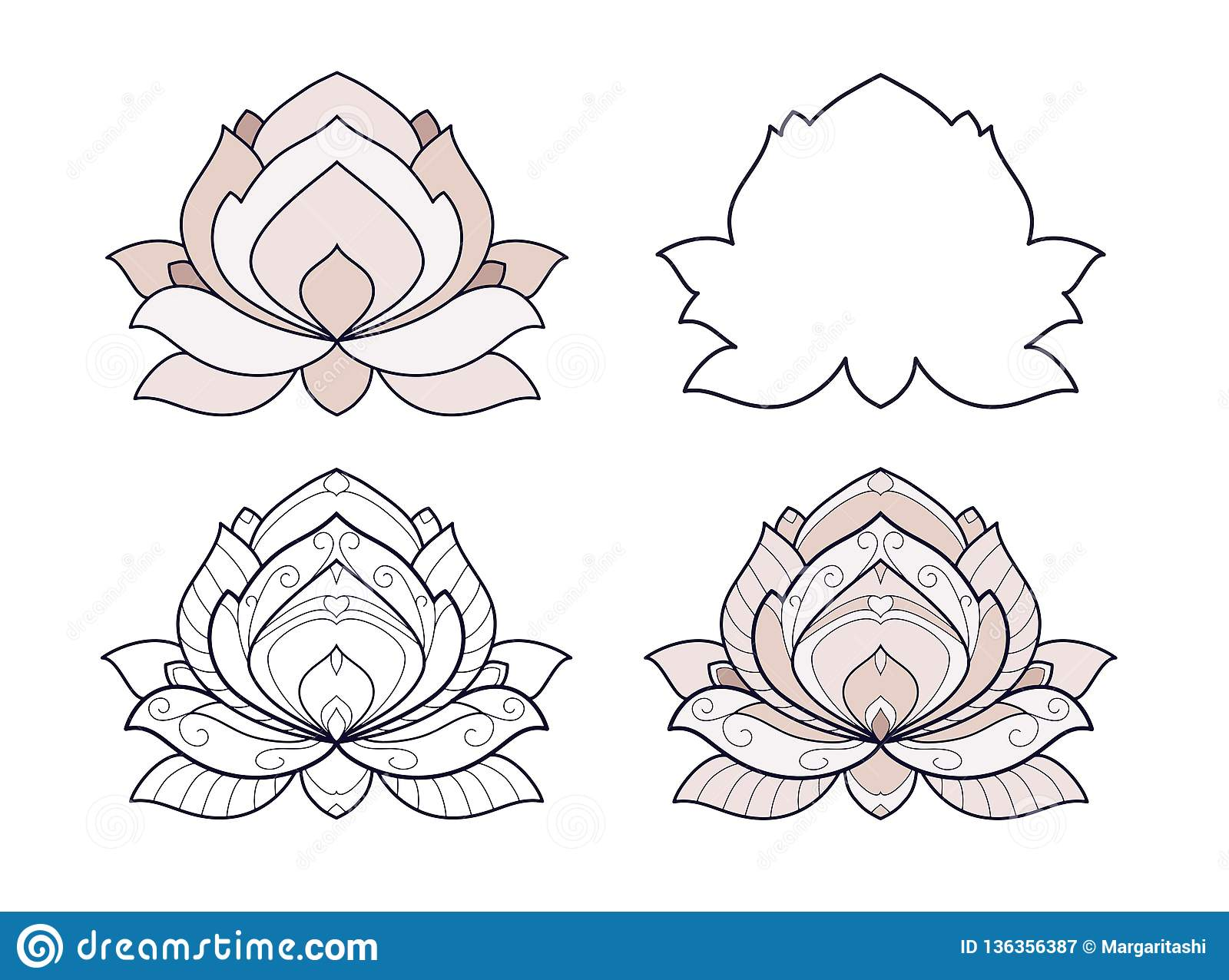Lotus Flower Set Vector Illustration Is Isolated On A White