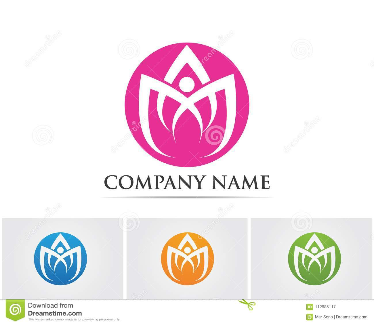 Lotus Flower Sign for Wellness, Spa and Yoga. Vector Illustration,,
