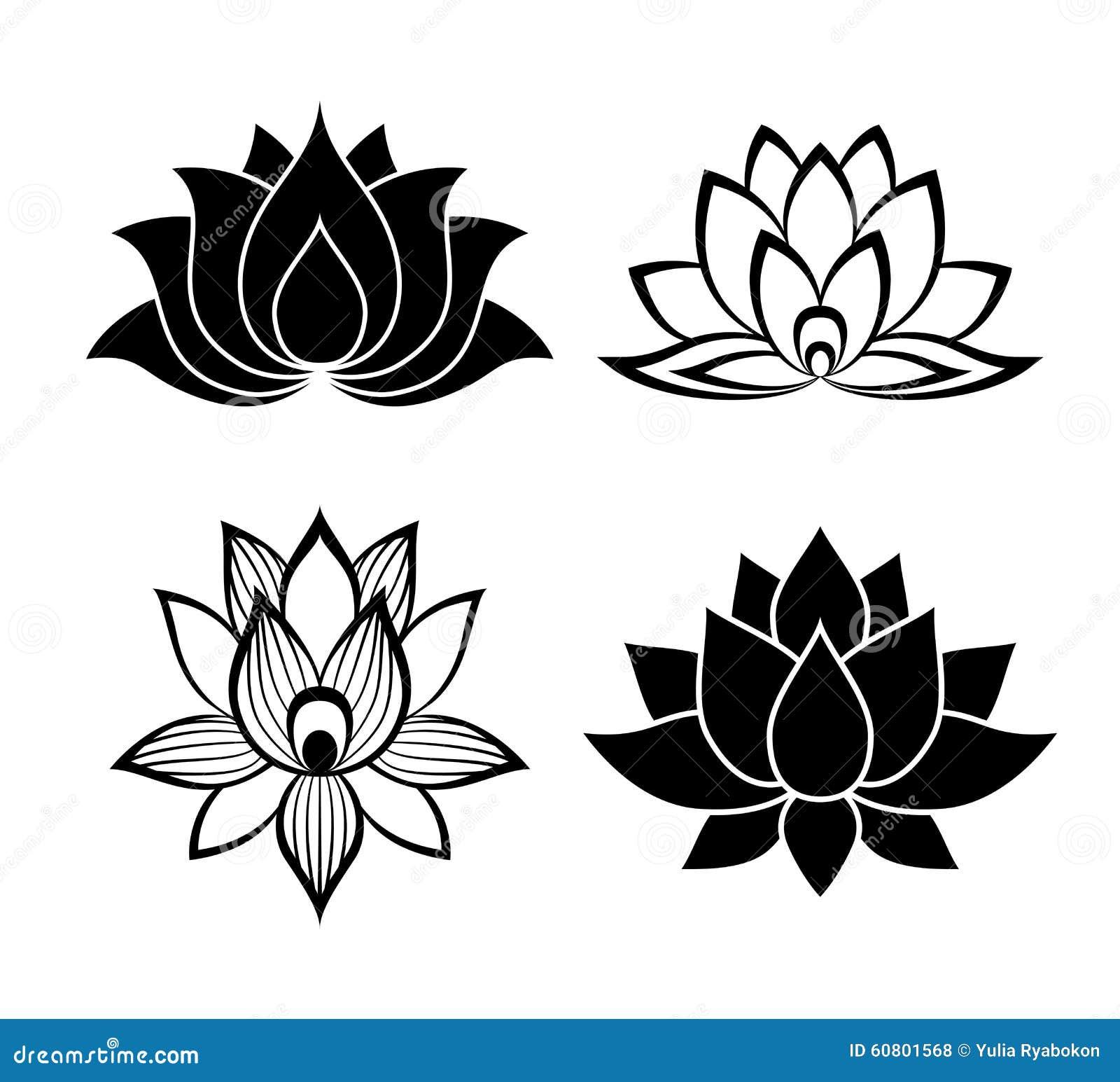 Stylized lotus flower icon vector background stock vector lotus flower signs set stock illustration izmirmasajfo