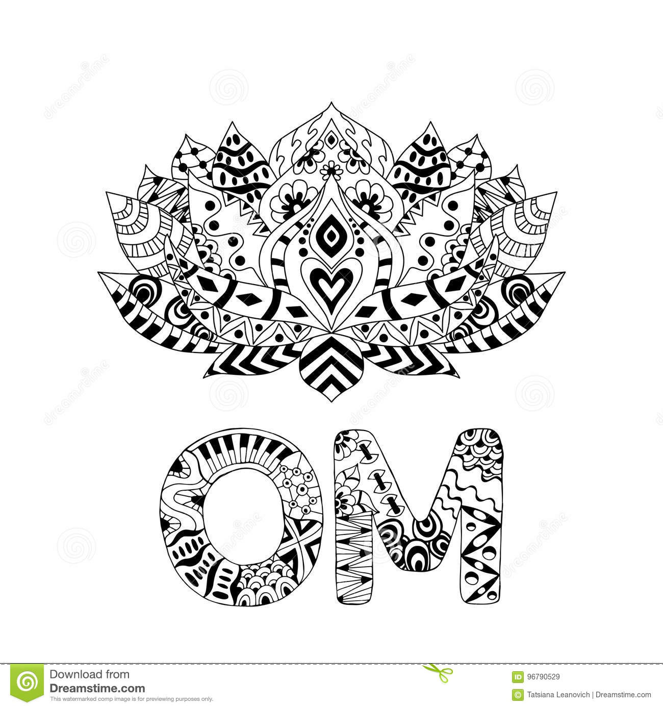Lotus Flower Silhouette And Symbol Om Stock Illustration