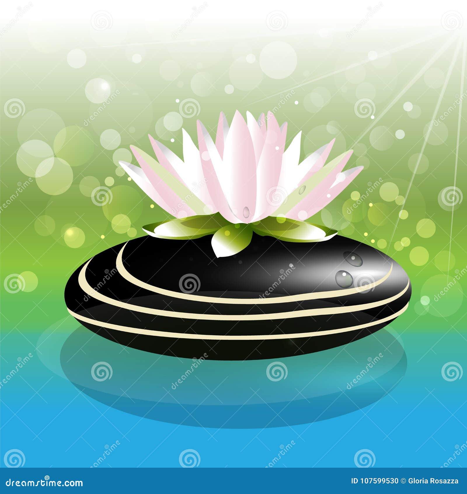 Lotus flower sparkle bubbles on black spa stone logo stock vector lotus flower sparkle bubbles on black spa stone logo graphics backdrop izmirmasajfo Gallery