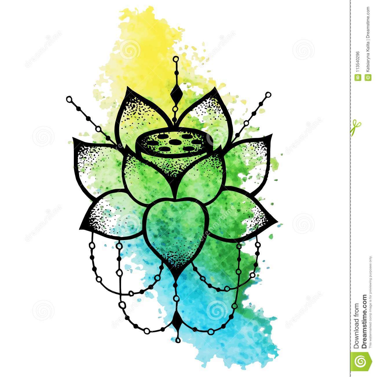 Lotus Flower With String Of Beads Stock Vector Illustration Of