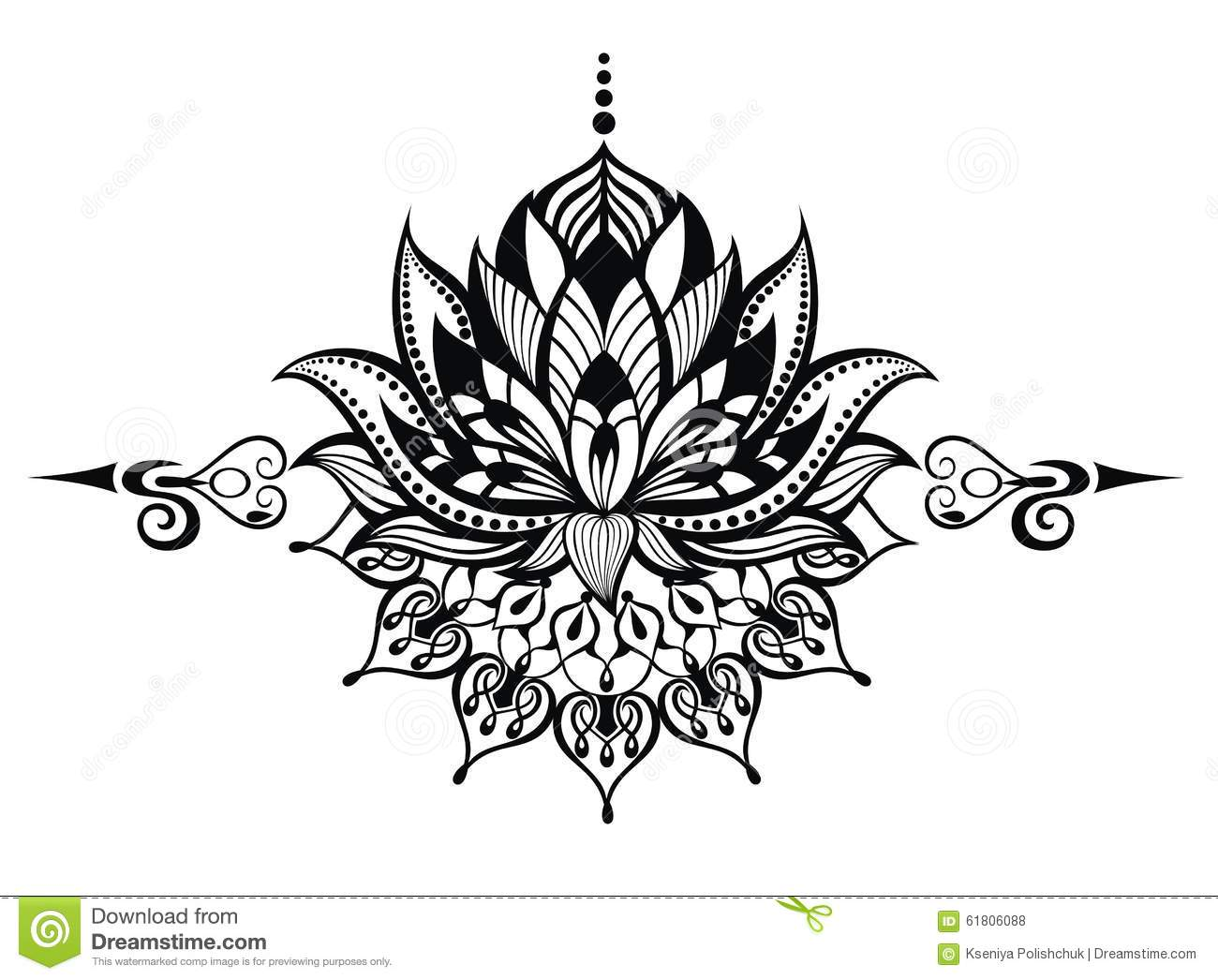 Lotus Flowertattoo Stock Vector Illustration Of Plant 61806088