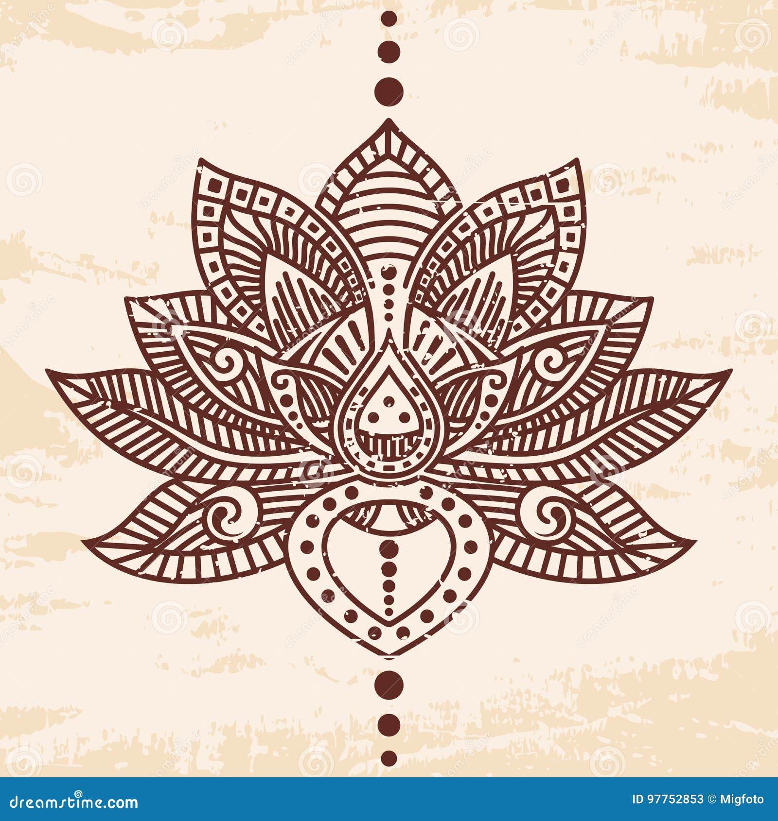8ee5dd873 Lotus flower tattoo stock vector. Illustration of decoration - 97752853