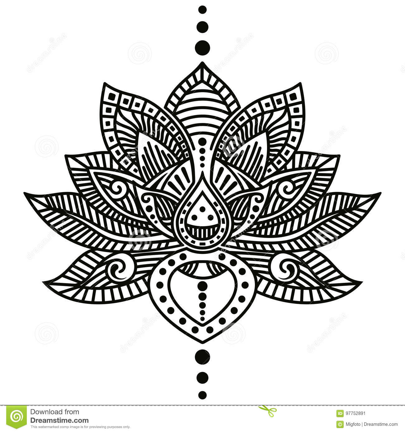 Lotus Flower Tattoo Stock Vector Illustration Of Ornate 97752891