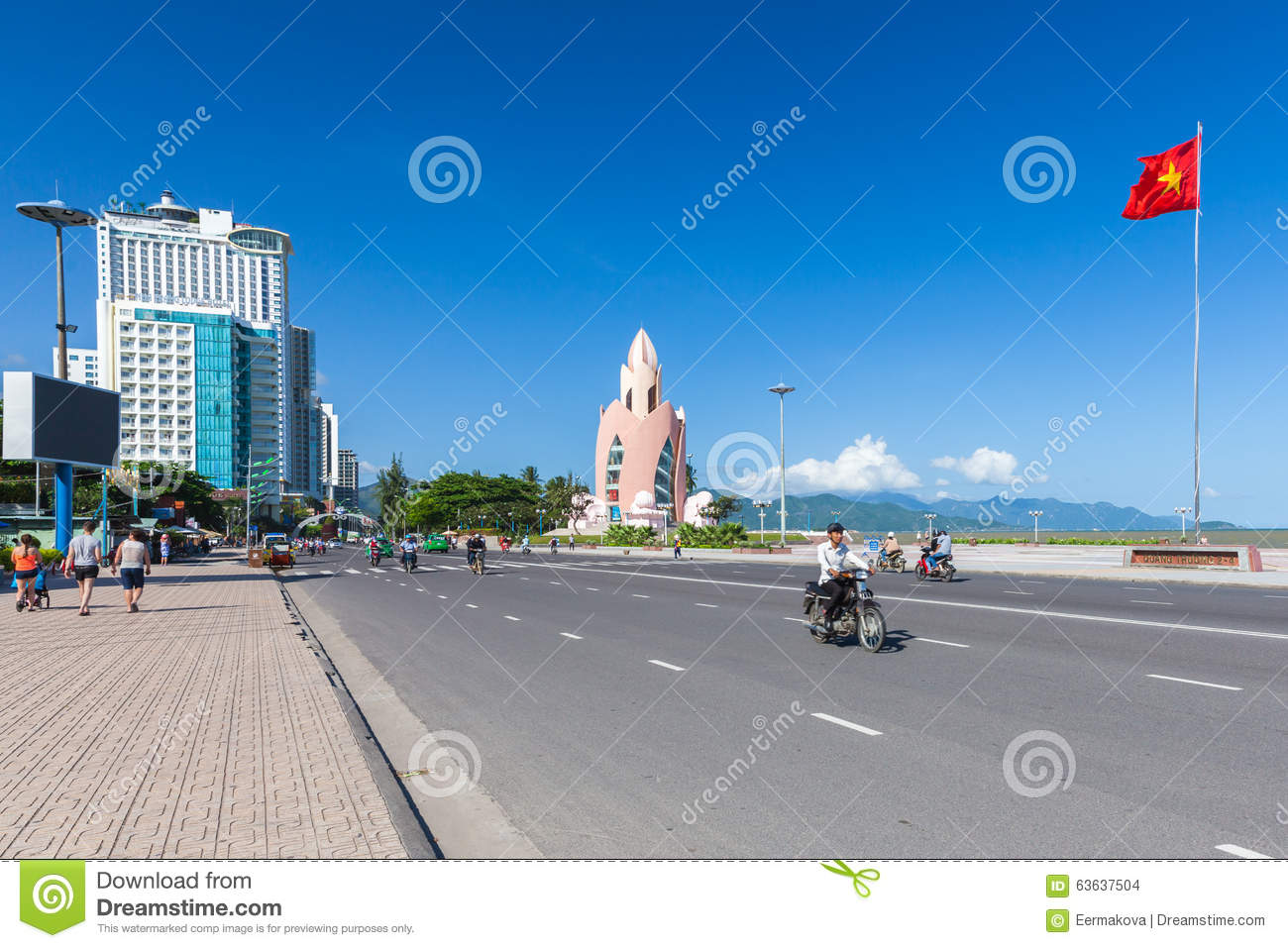 Lotus Flower Tower In A Sunny Day Nha Trang Vietnam Editorial